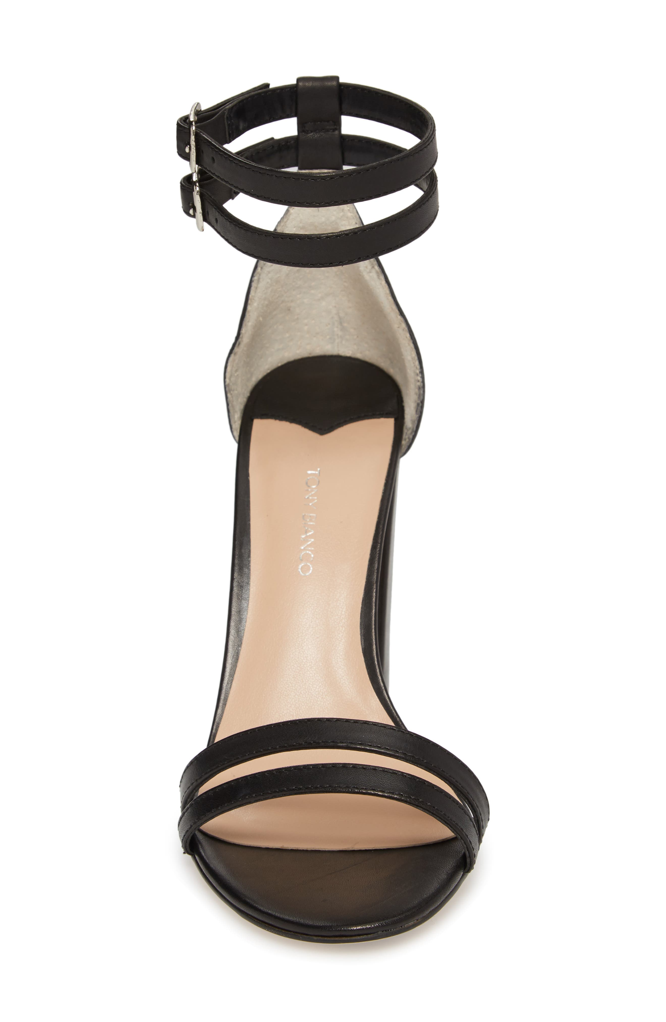 Kelly Block Heel Sandal,                             Alternate thumbnail 4, color,                             Black Monaco Leather