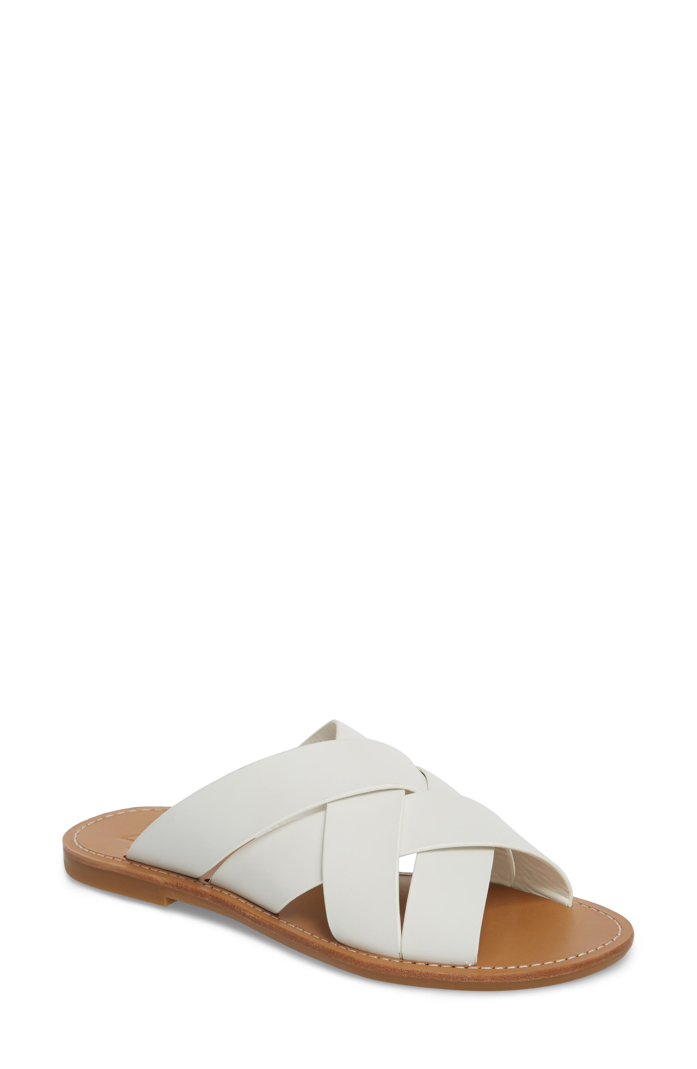 Raida Slide Sandal,                         Main,                         color, White Leather