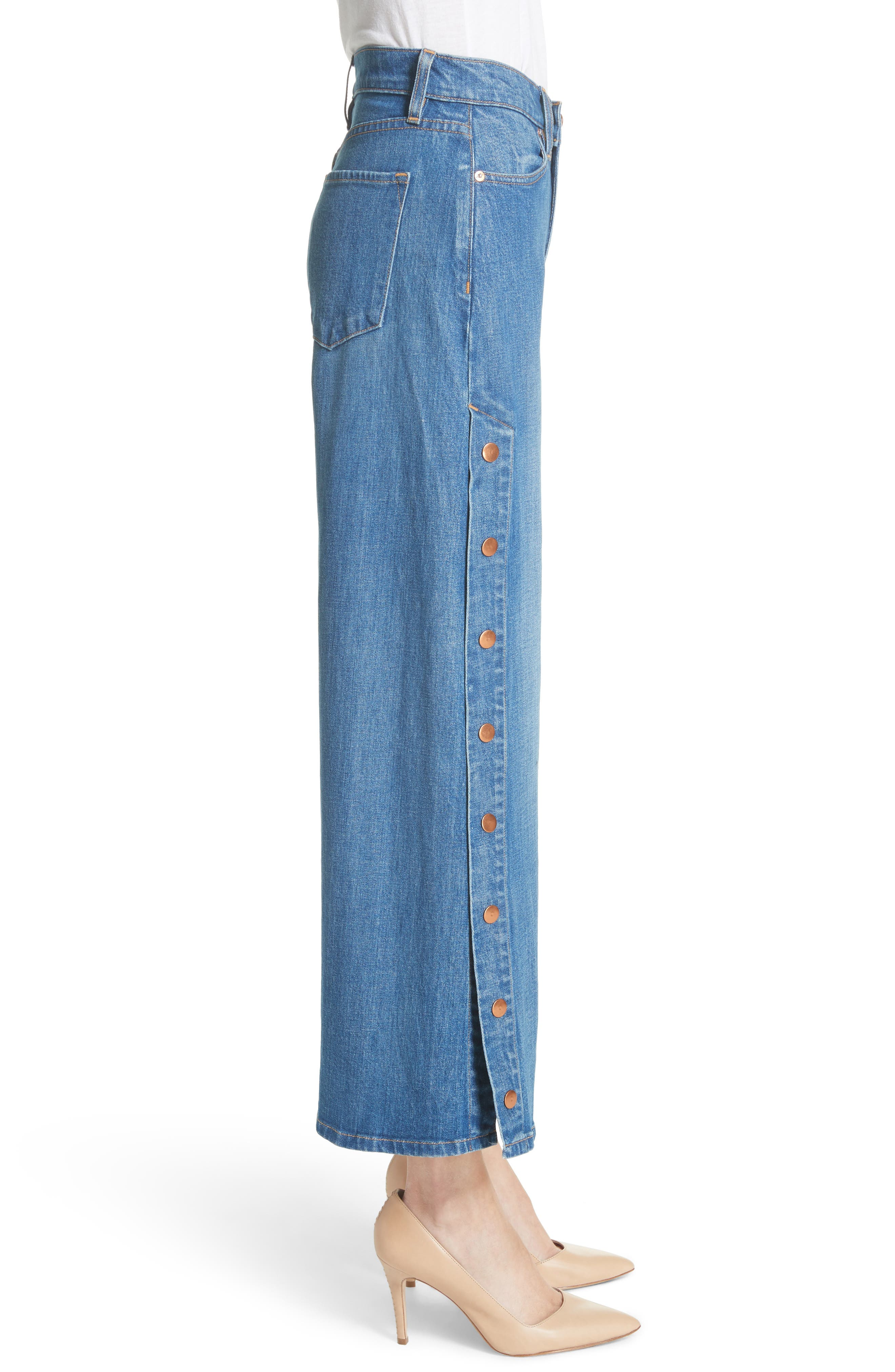AO.LA Gorgeous Snap Side Crop Flare Jeans,                             Alternate thumbnail 3, color,                             French Blue