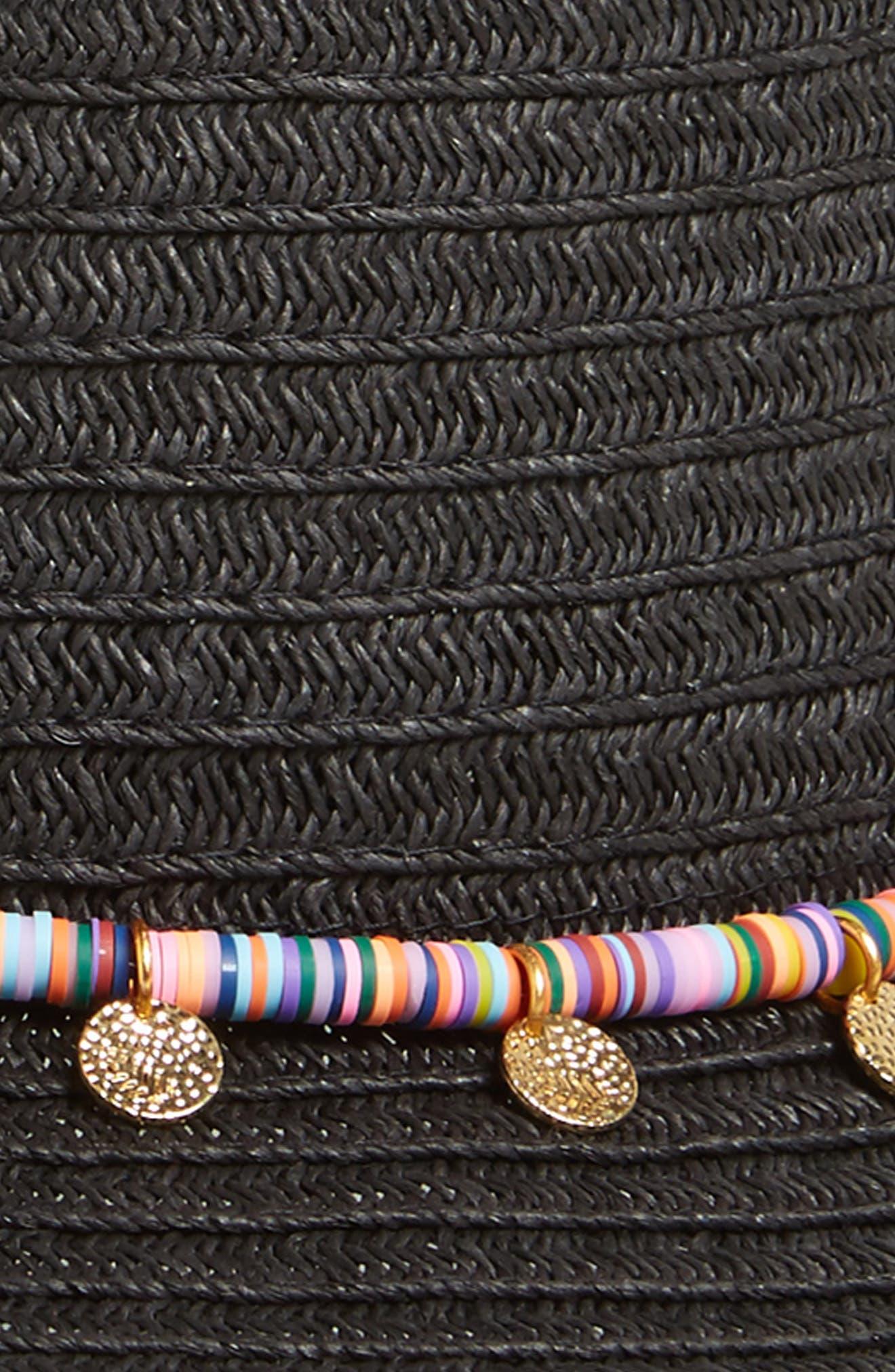 Multicolor Trim Straw Fedora,                             Alternate thumbnail 2, color,                             Black
