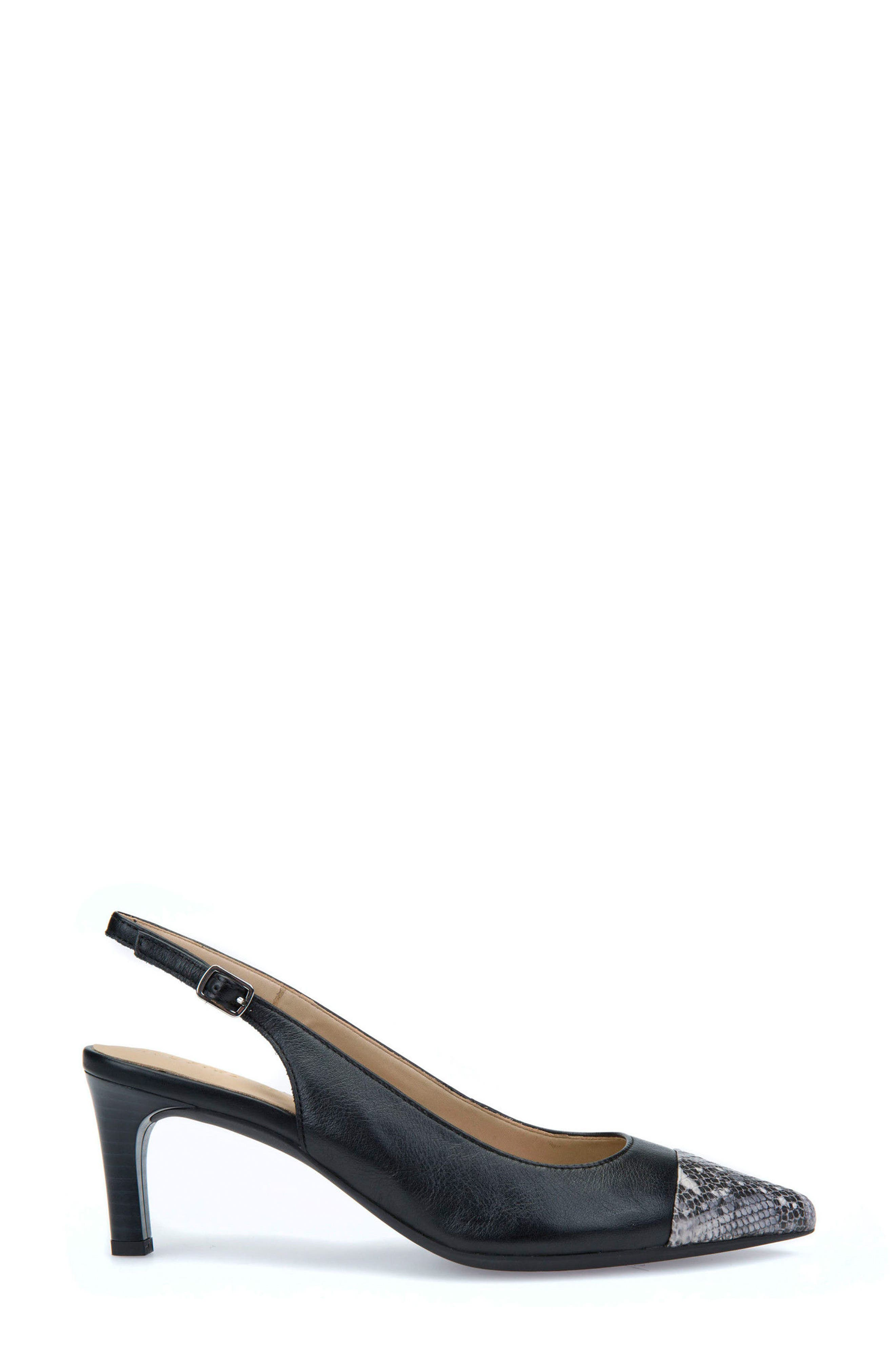 Bibbiana Slingback Pump,                             Alternate thumbnail 3, color,                             Black Leather