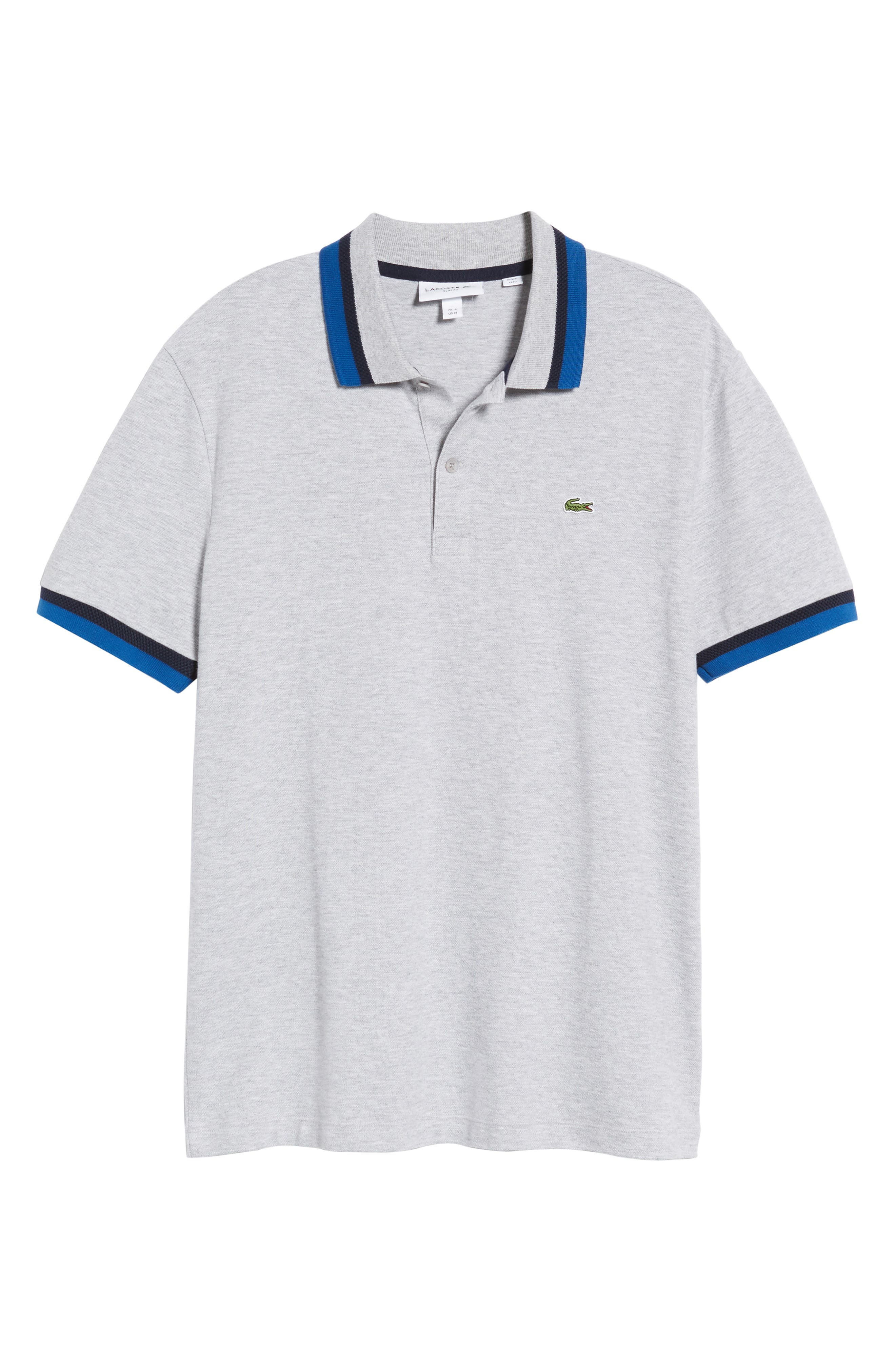 Slim Fit Contrast Stretch Cotton Piqué Polo,                             Alternate thumbnail 6, color,                             Silver Chine/ Navy Blue-El