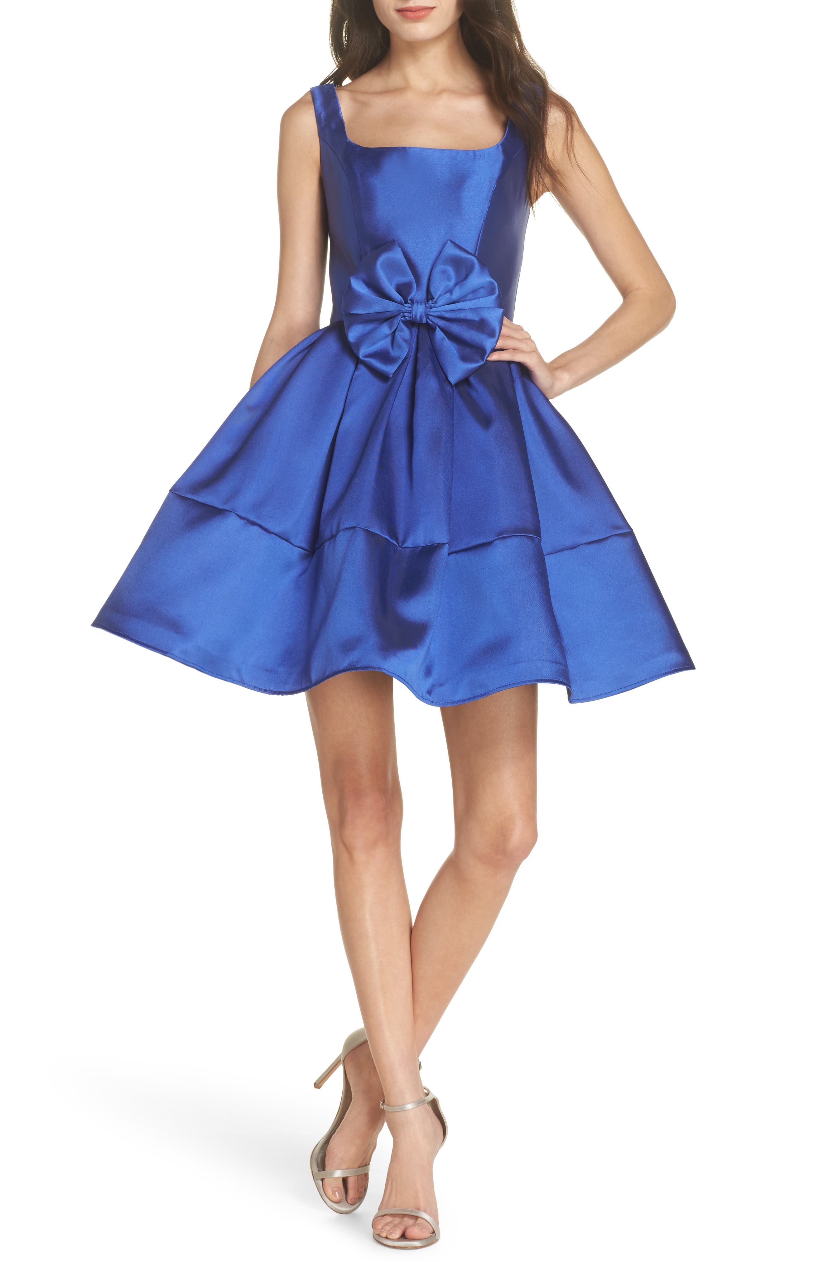 Square Neck Mikado Party Dress,                             Main thumbnail 1, color,                             Royal