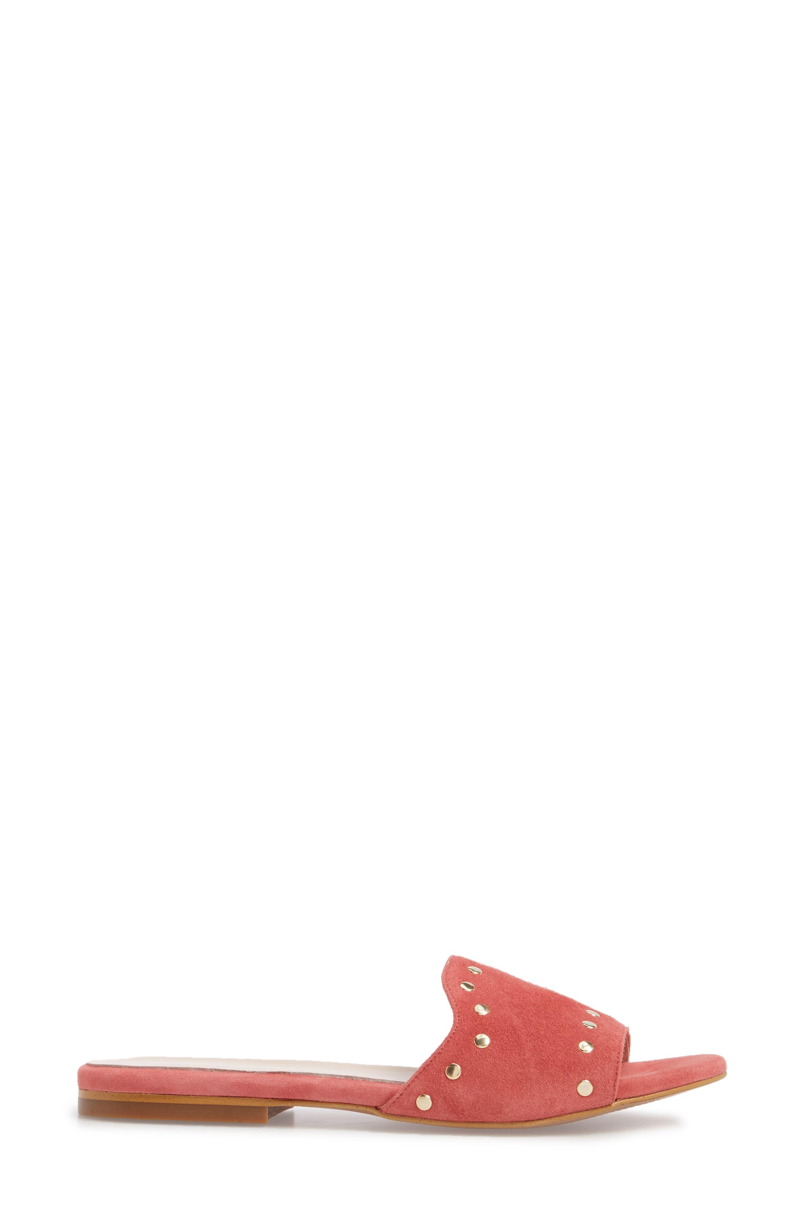 Mira Slide Sandal,                             Alternate thumbnail 3, color,                             Rose Suede