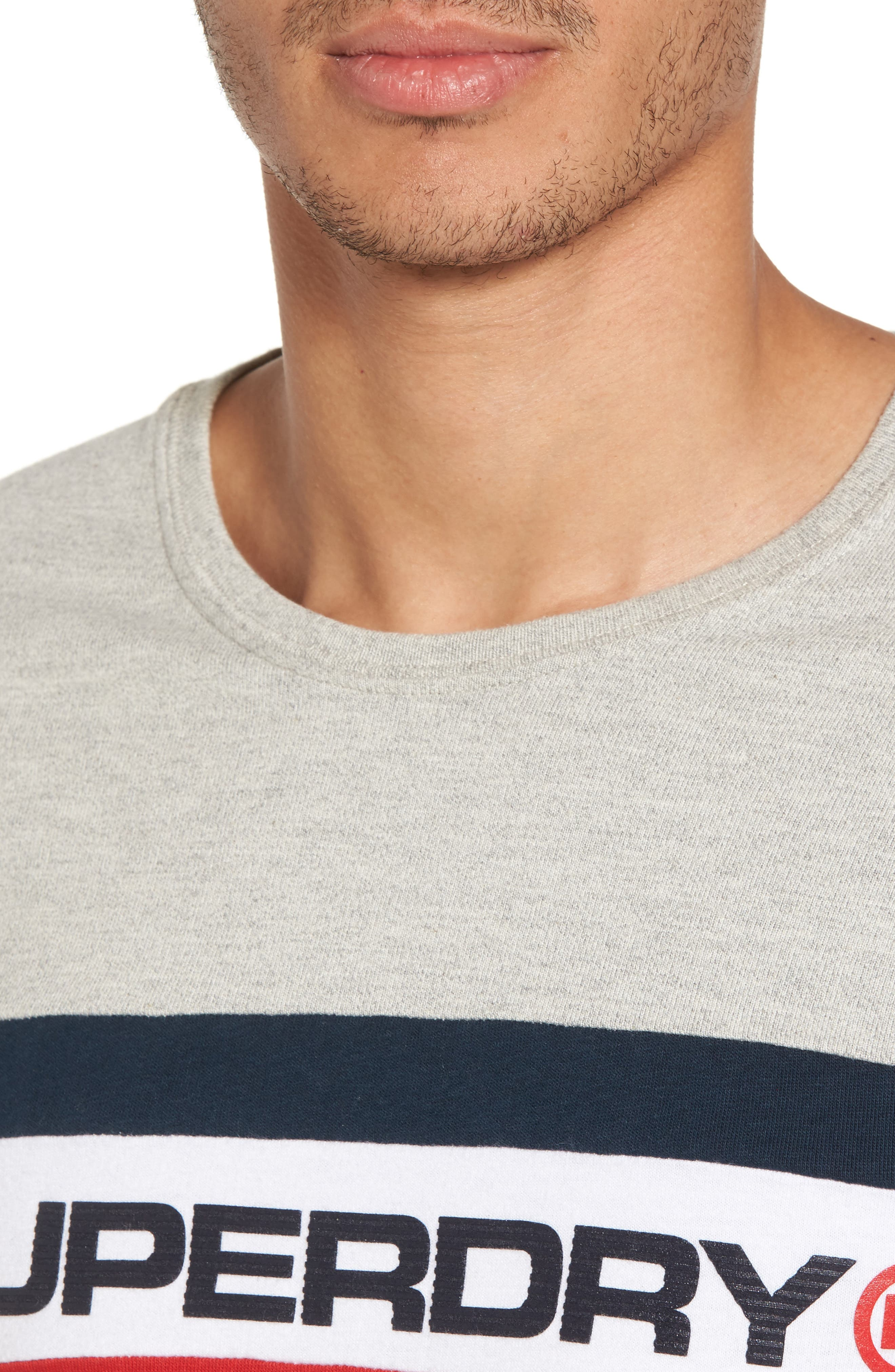 Trophy Chest Band T-Shirt,                             Alternate thumbnail 4, color,                             Superdry Stadium Grey Grindle