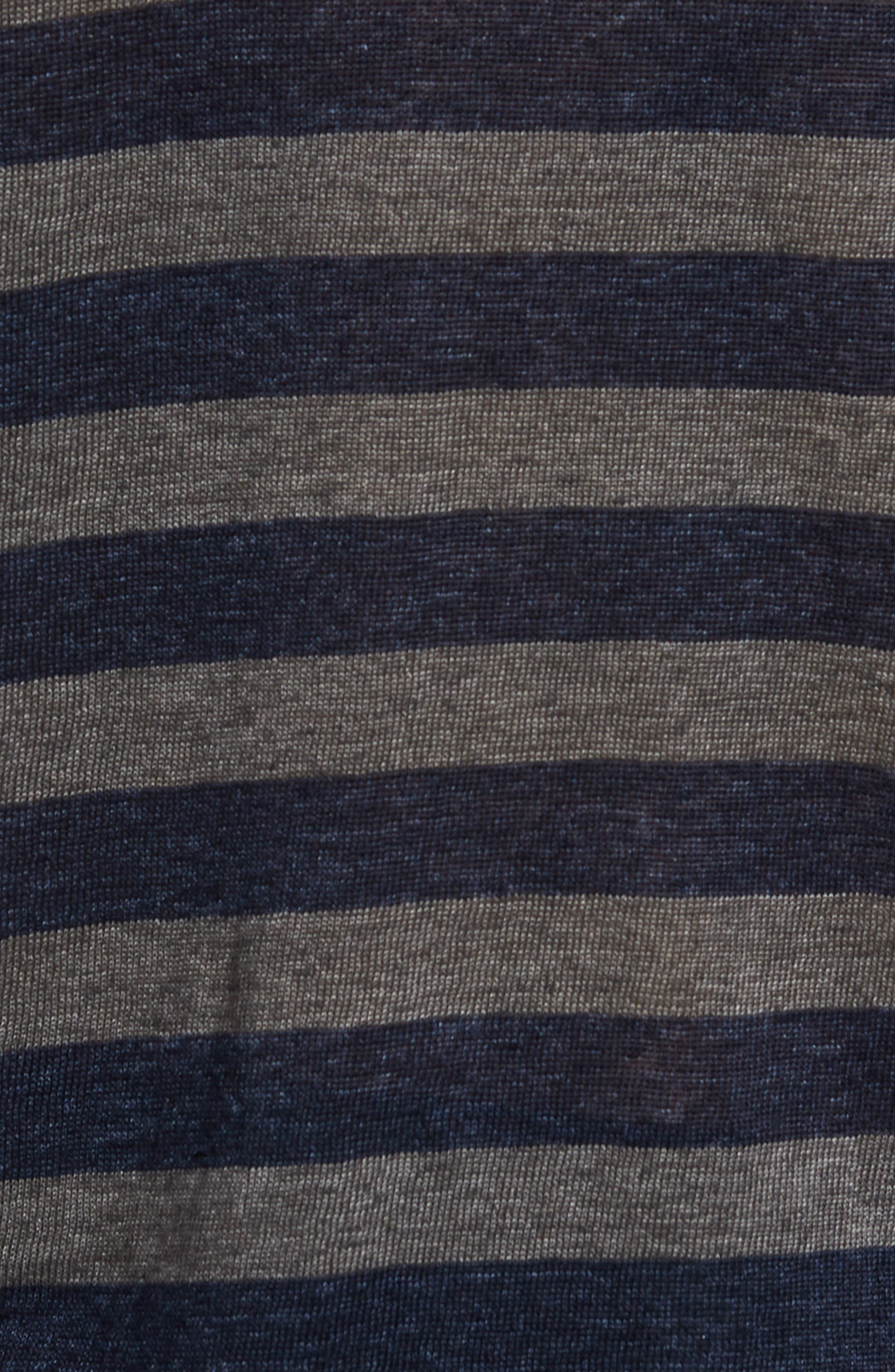 & Bros. Stripe Linen Sweater,                             Alternate thumbnail 5, color,                             Navy Stripe
