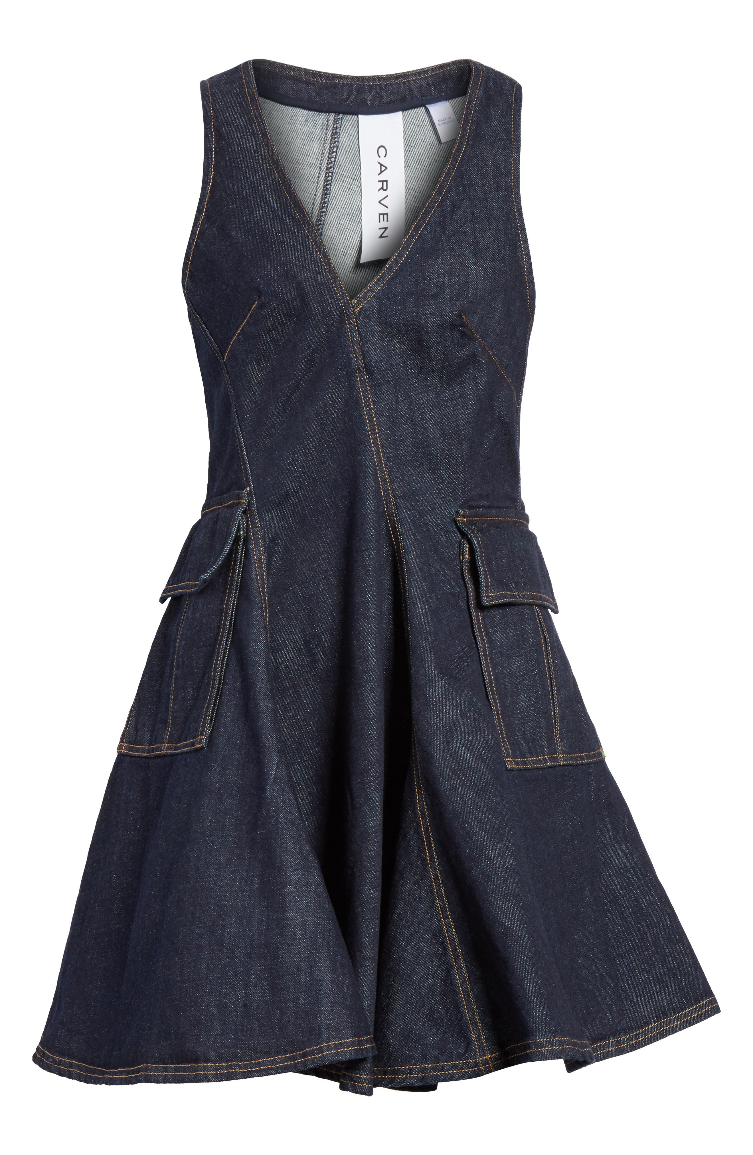 Fit & Flare Denim Dress,                             Alternate thumbnail 6, color,                             Indigo