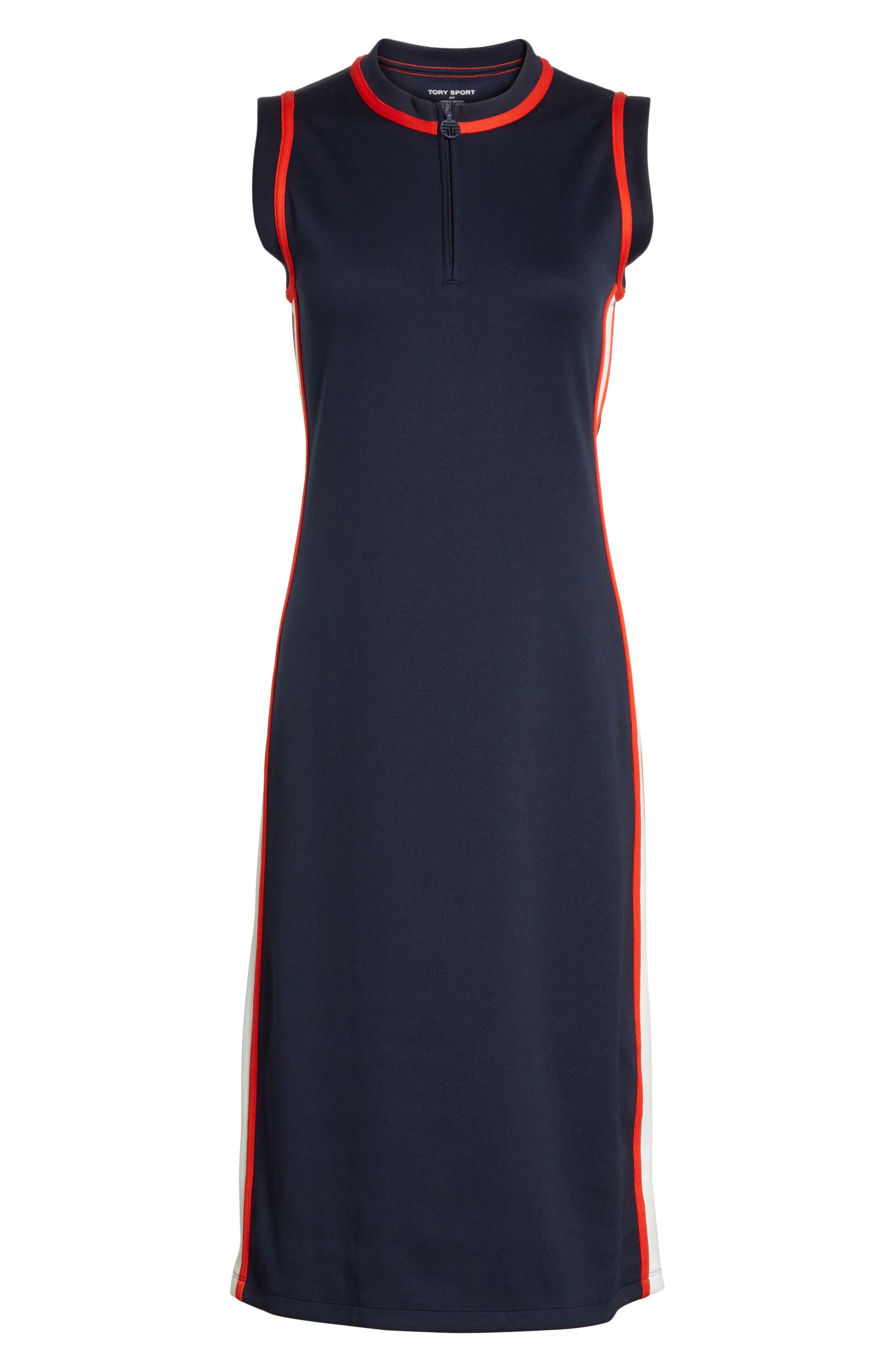 Sleeveless Track Dress,                             Alternate thumbnail 7, color,                             Tory Navy