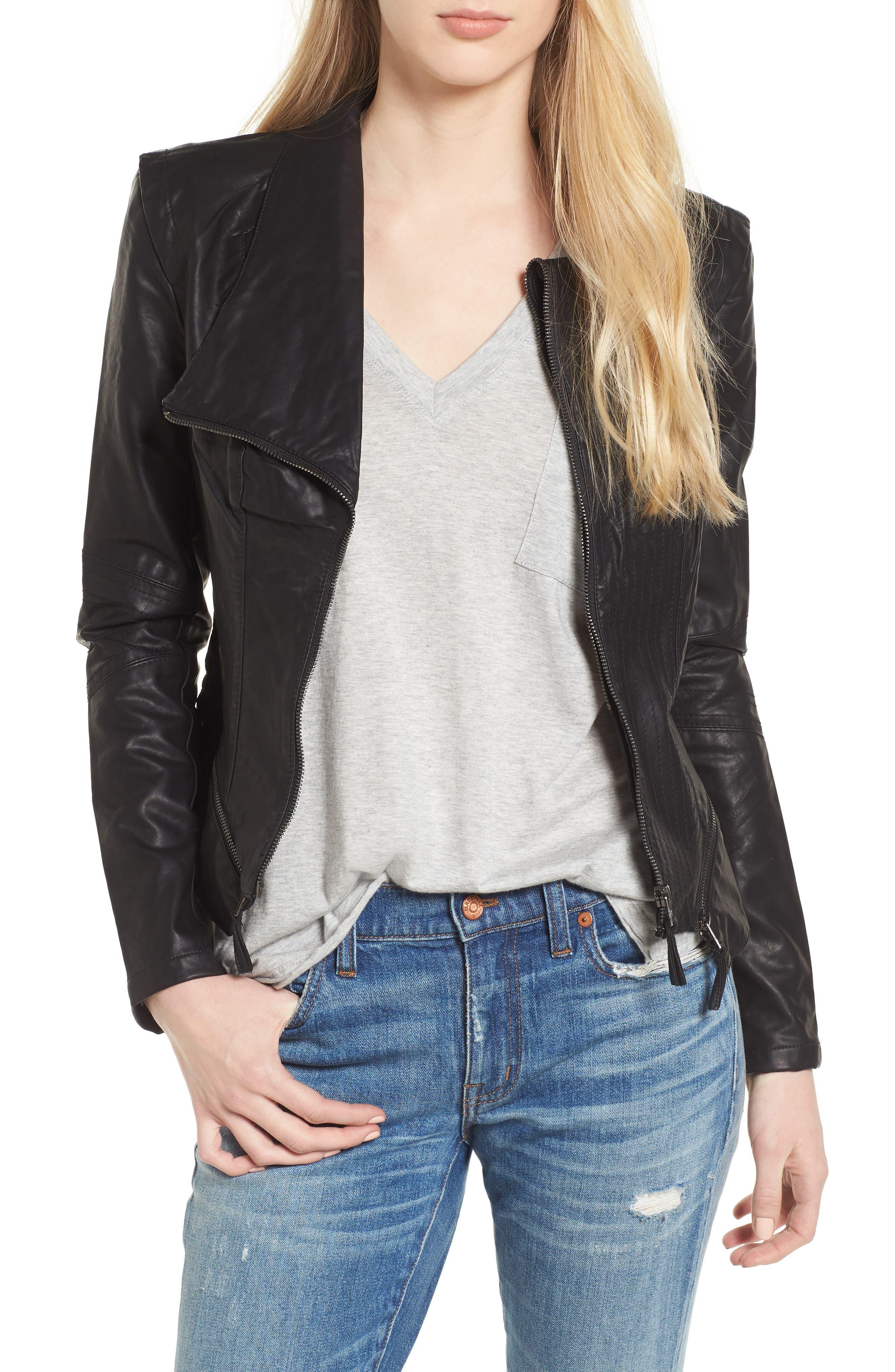 Faux Leather Jacket,                         Main,                         color, Black