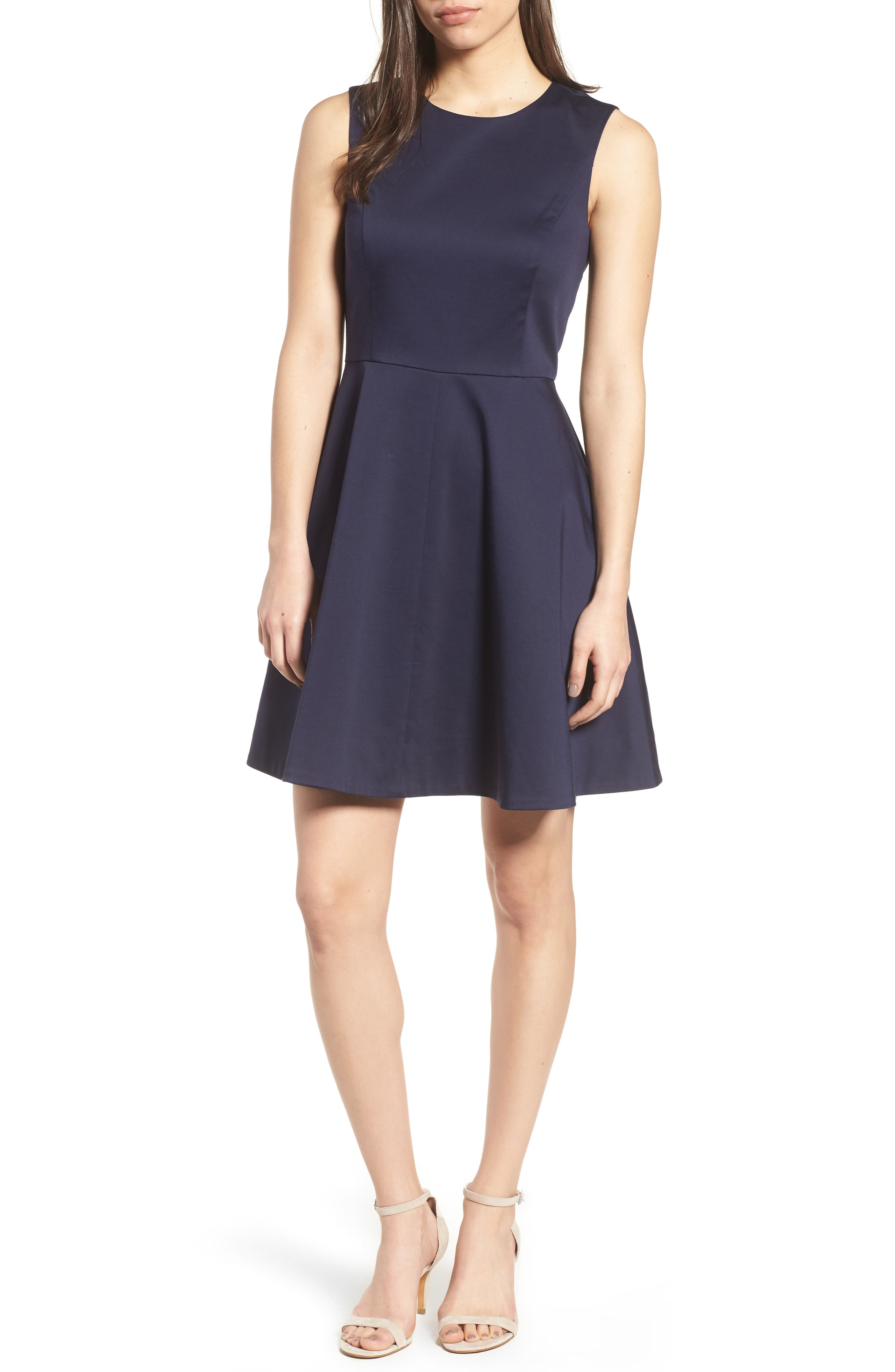Love Circle Fit & Flare Dress,                         Main,                         color, Navy