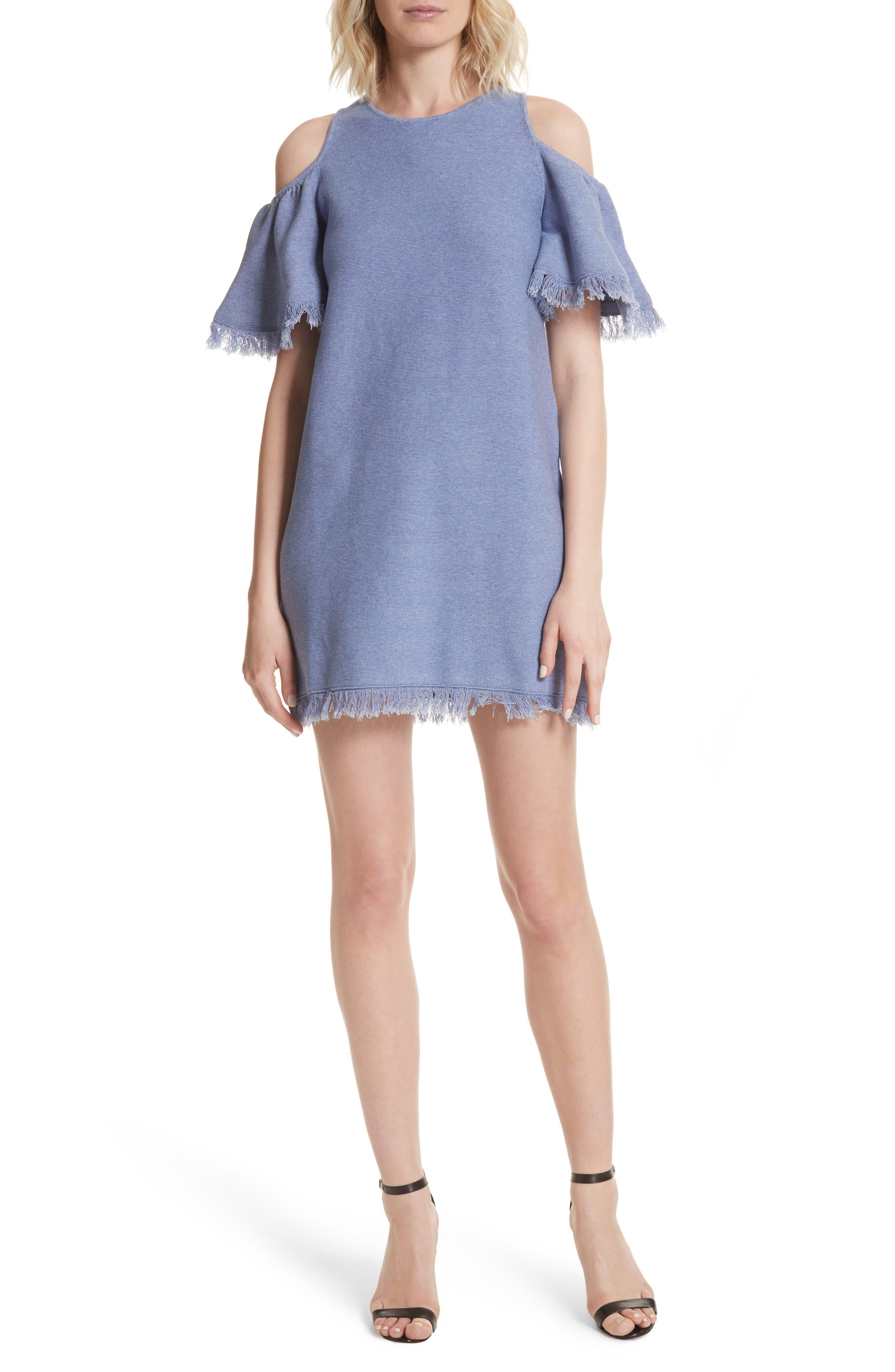 Denim Knit Fringe Cold Shoulder Minidress,                         Main,                         color, Chambray