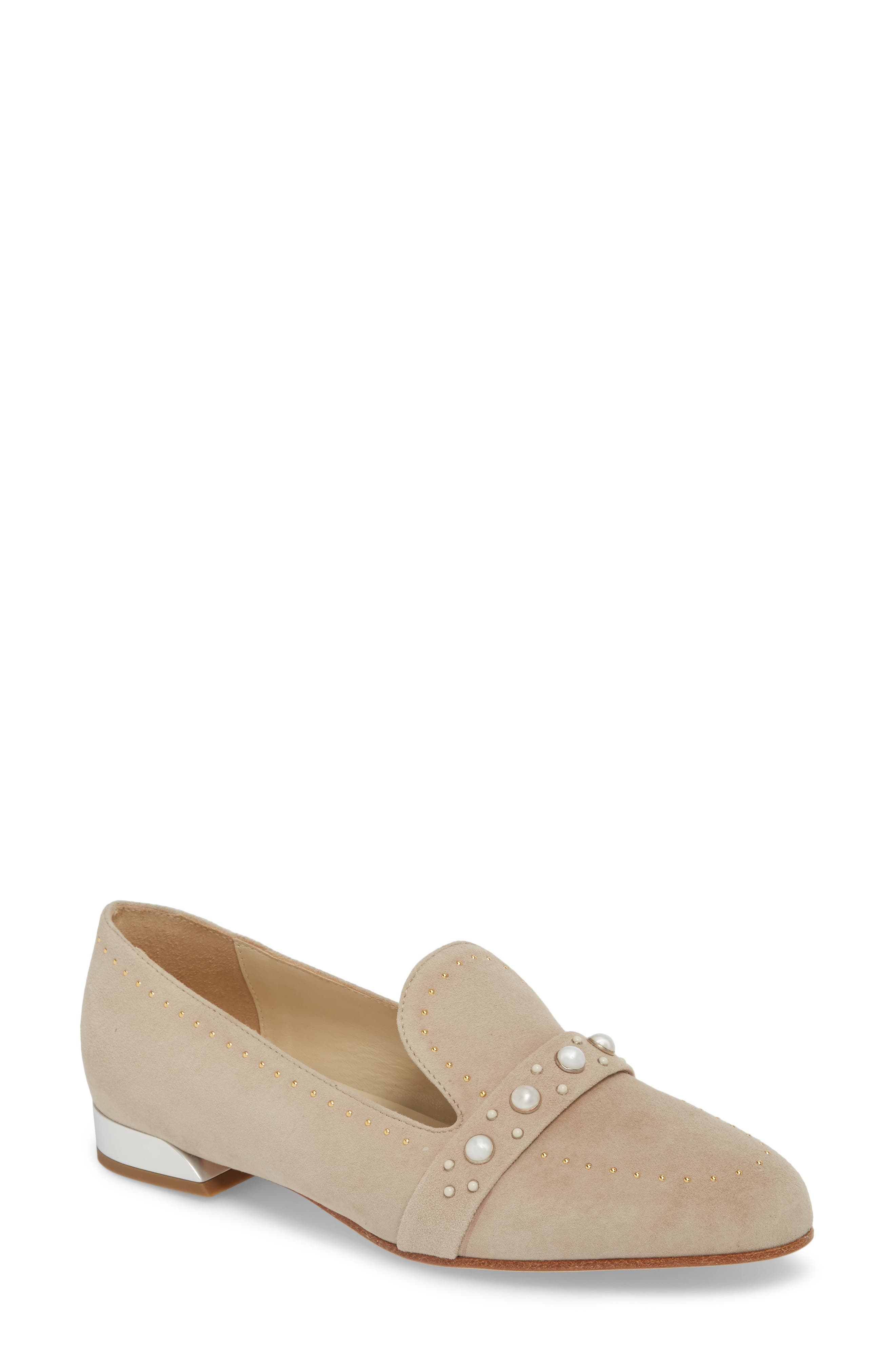 Butter Tamra Embellished Loafer,                             Main thumbnail 1, color,                             Pebble Suede
