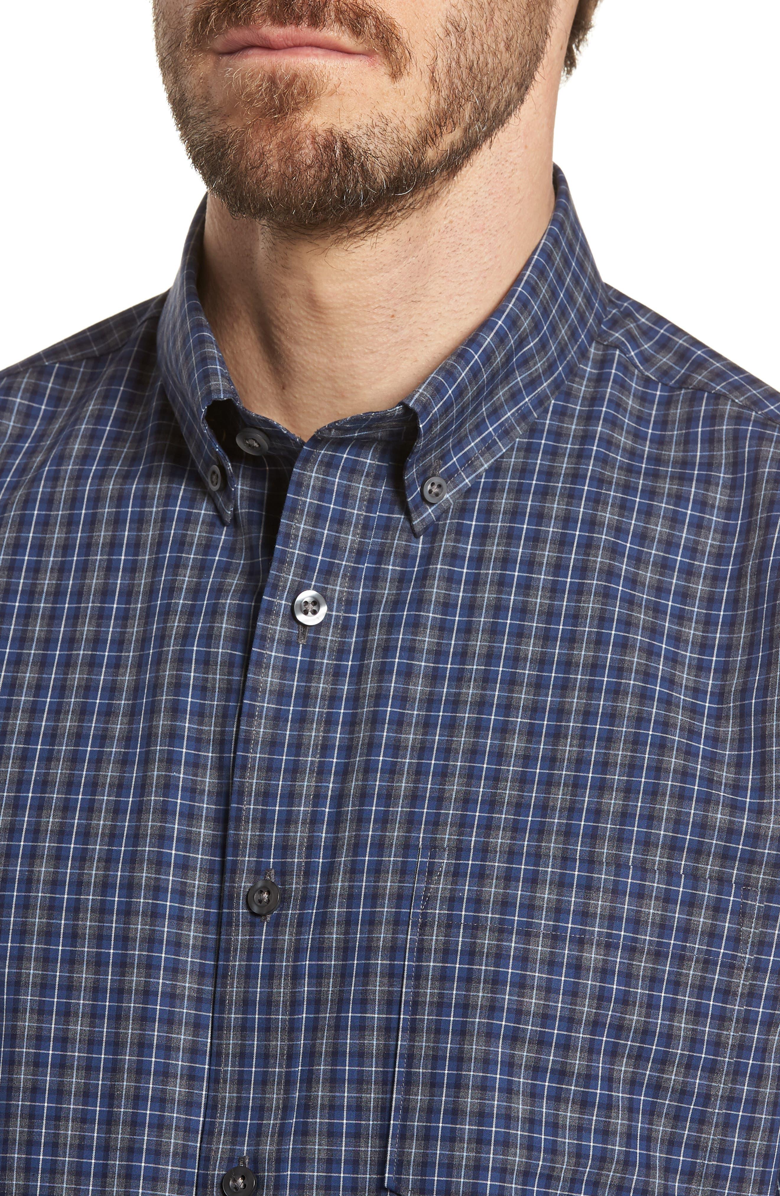 Trim Fit Check Sport Shirt,                             Alternate thumbnail 2, color,                             Navy Peacoat Grey Check
