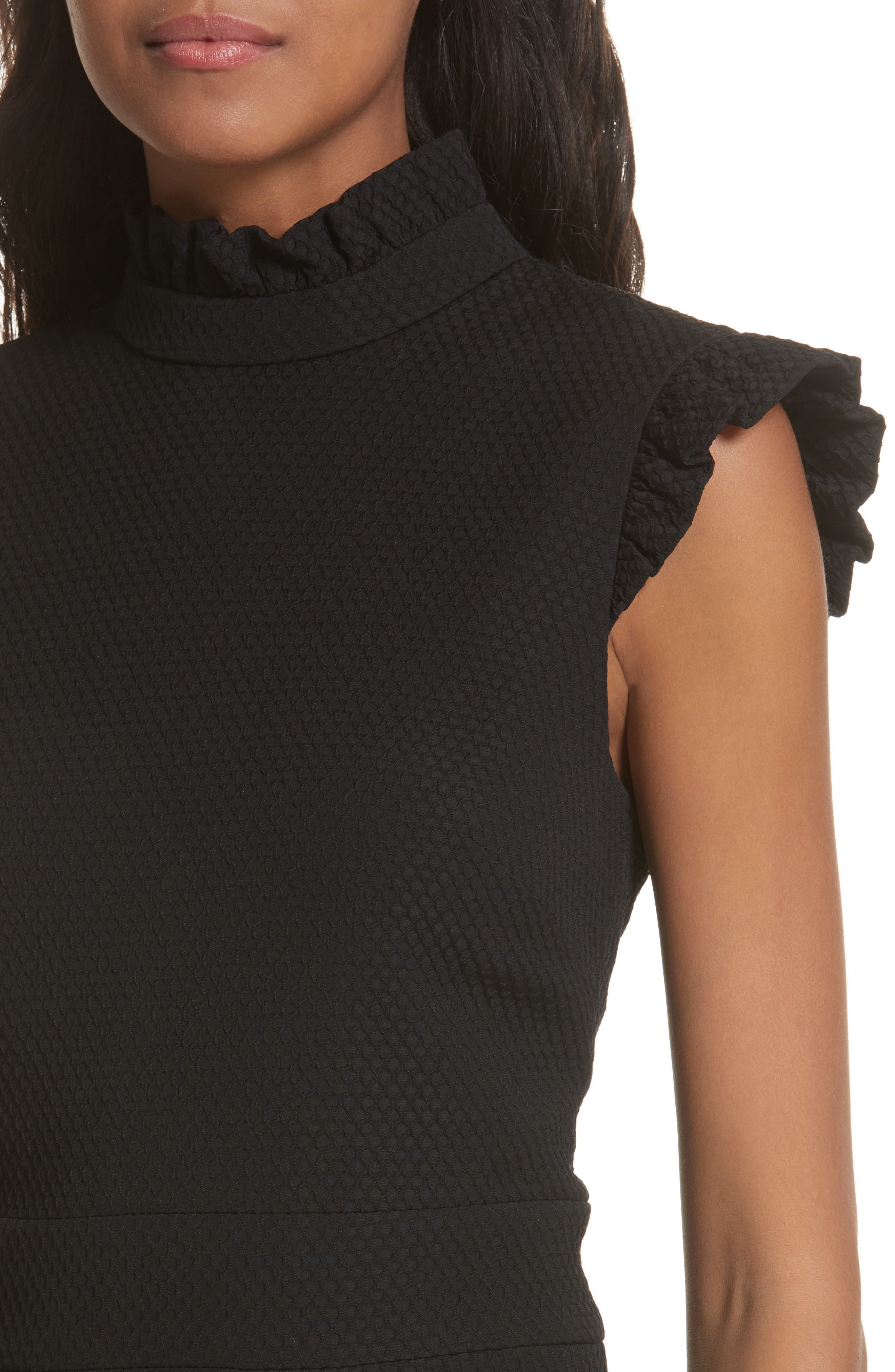 Ruffle Neck Peplum Top,                             Alternate thumbnail 4, color,                             Black