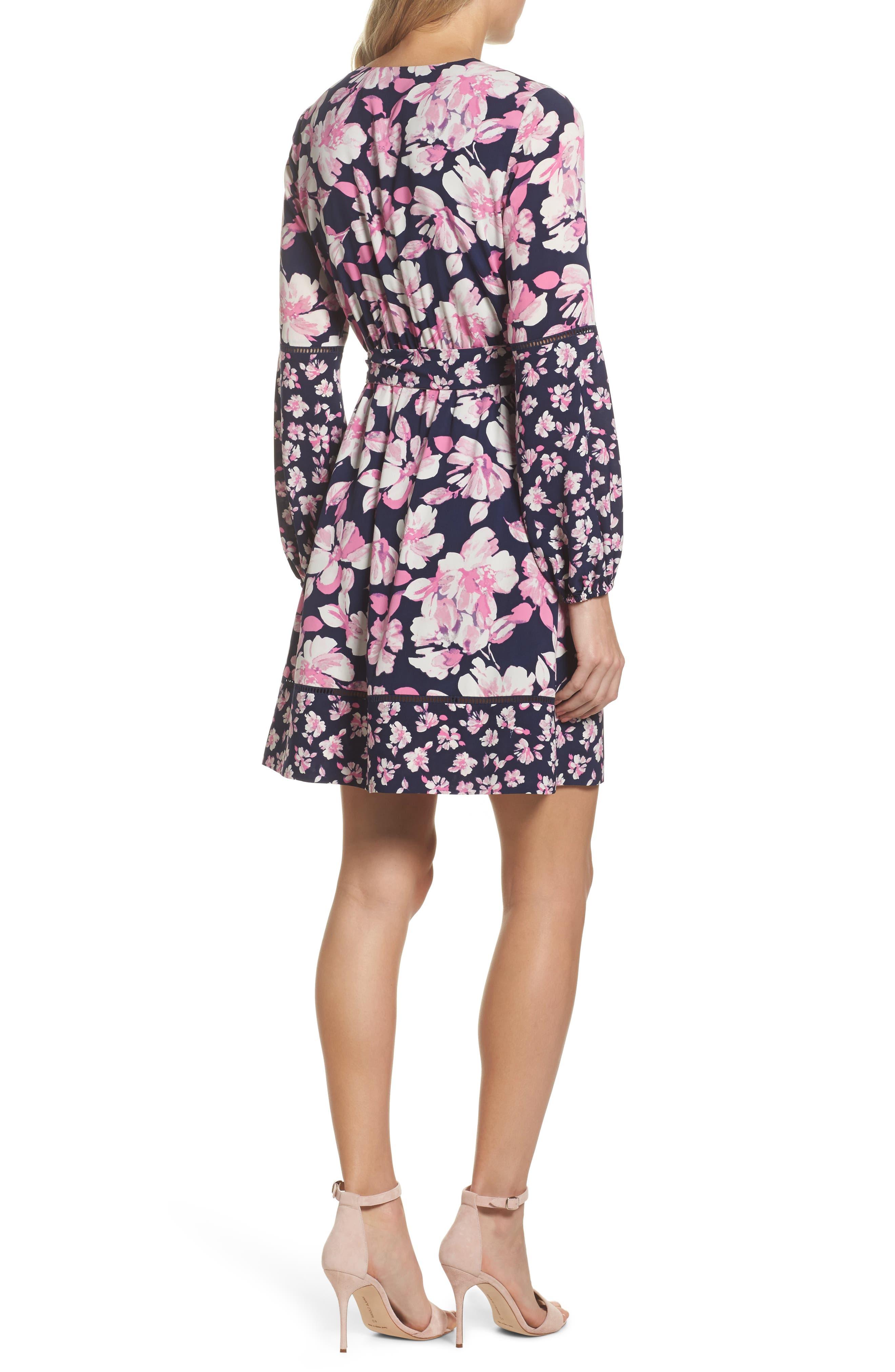 Print Faux Wrap Dress,                             Alternate thumbnail 2, color,                             Navy/ Pink