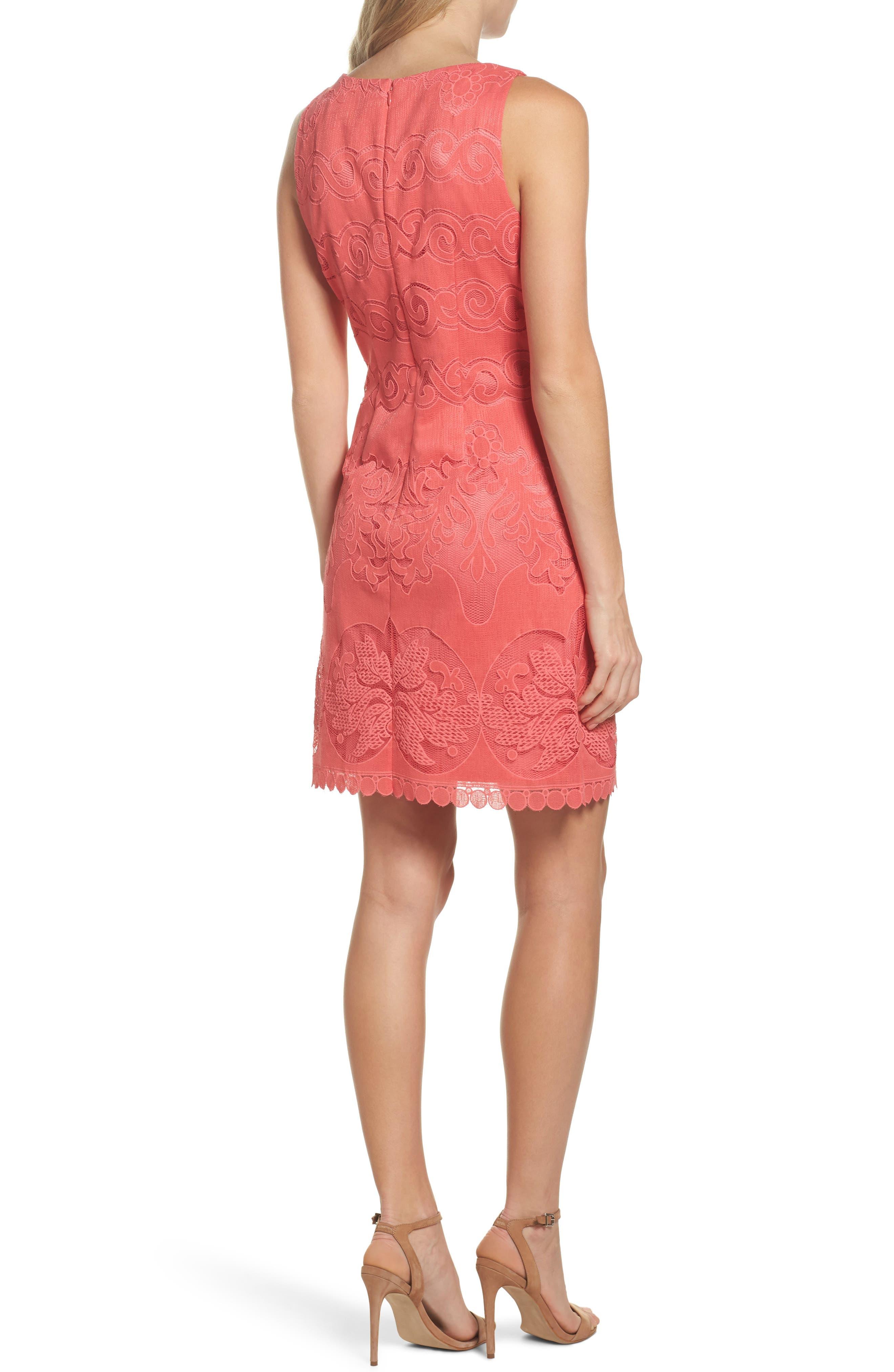 Sleeveless Scallop Hem Sheath Dress,                             Alternate thumbnail 2, color,                             Coral