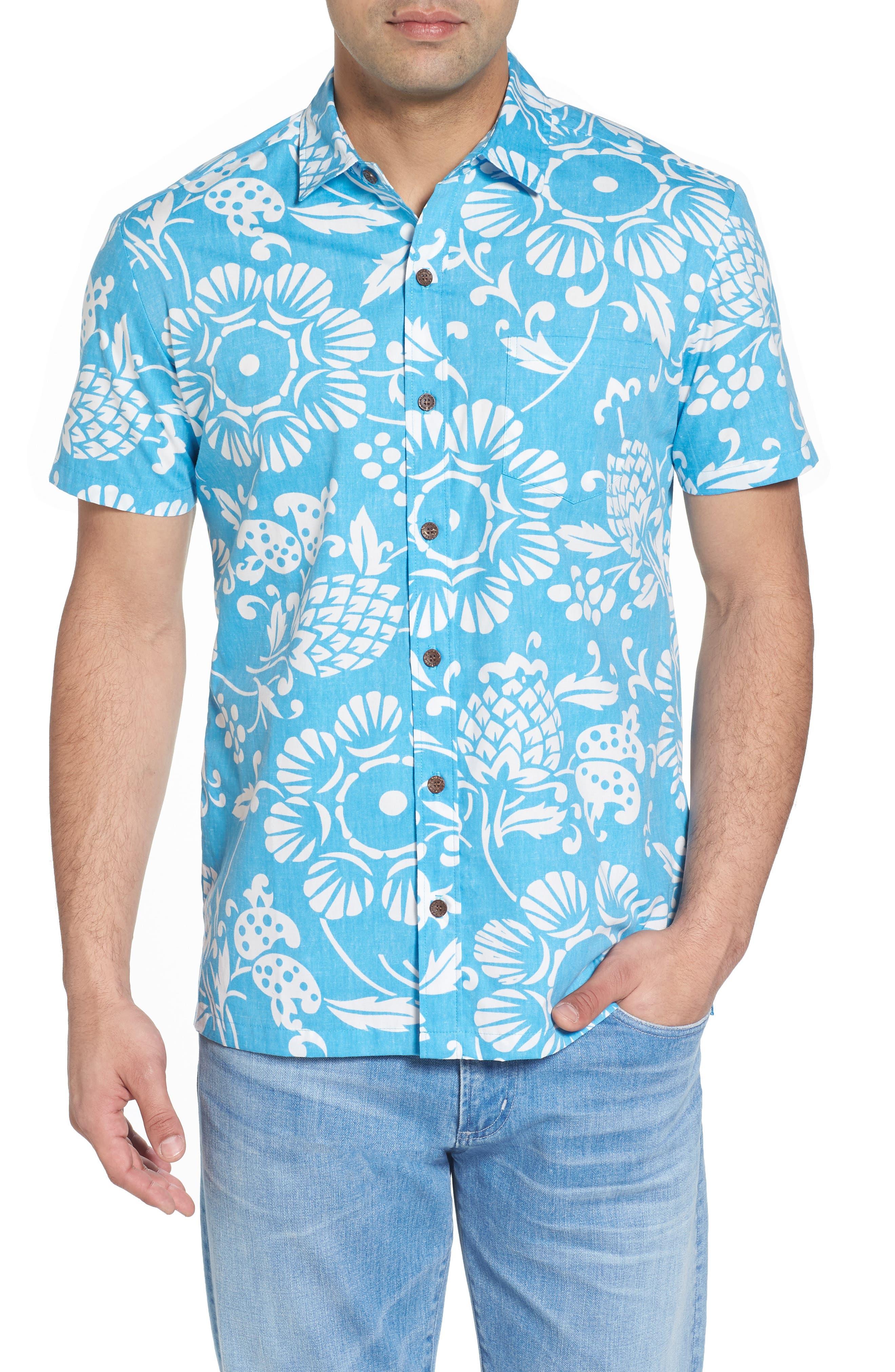 Duke's Pareo Trim Fit Sport Shirt,                         Main,                         color, Sky Blue