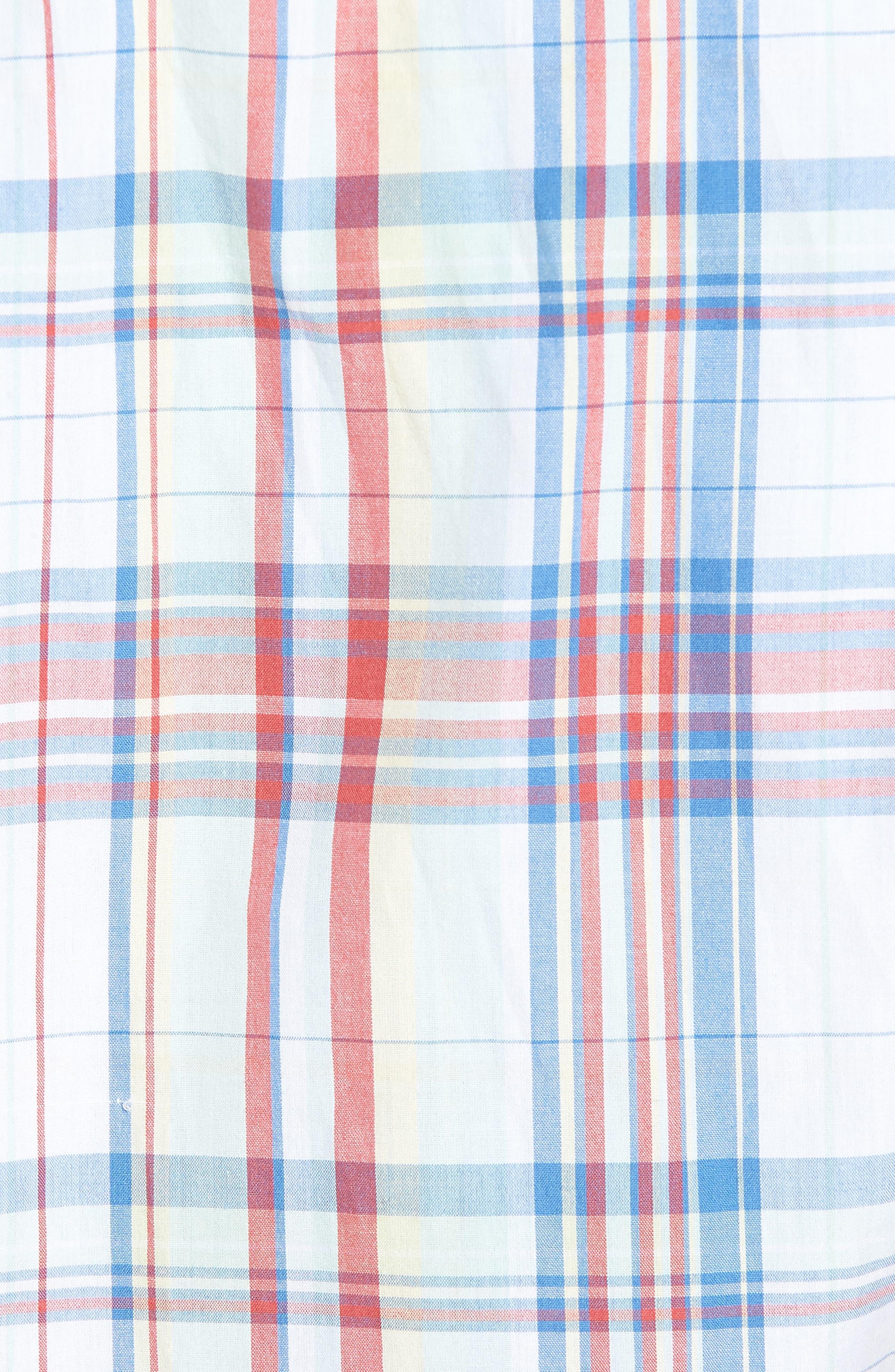 Trim Fit Plaid Short Sleeve Sport Shirt,                             Alternate thumbnail 5, color,                             White Red Multi Plaid