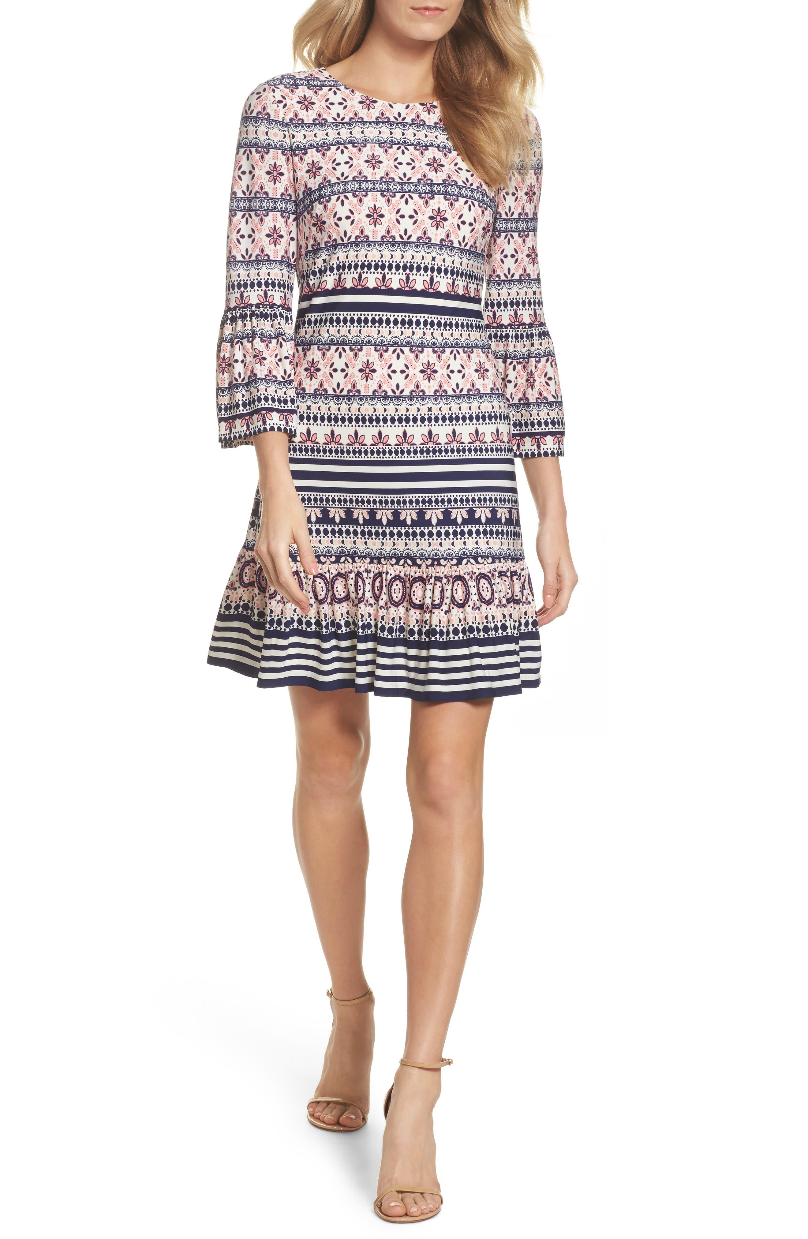 Bell Sleeve Flounce Dress,                         Main,                         color, Pink