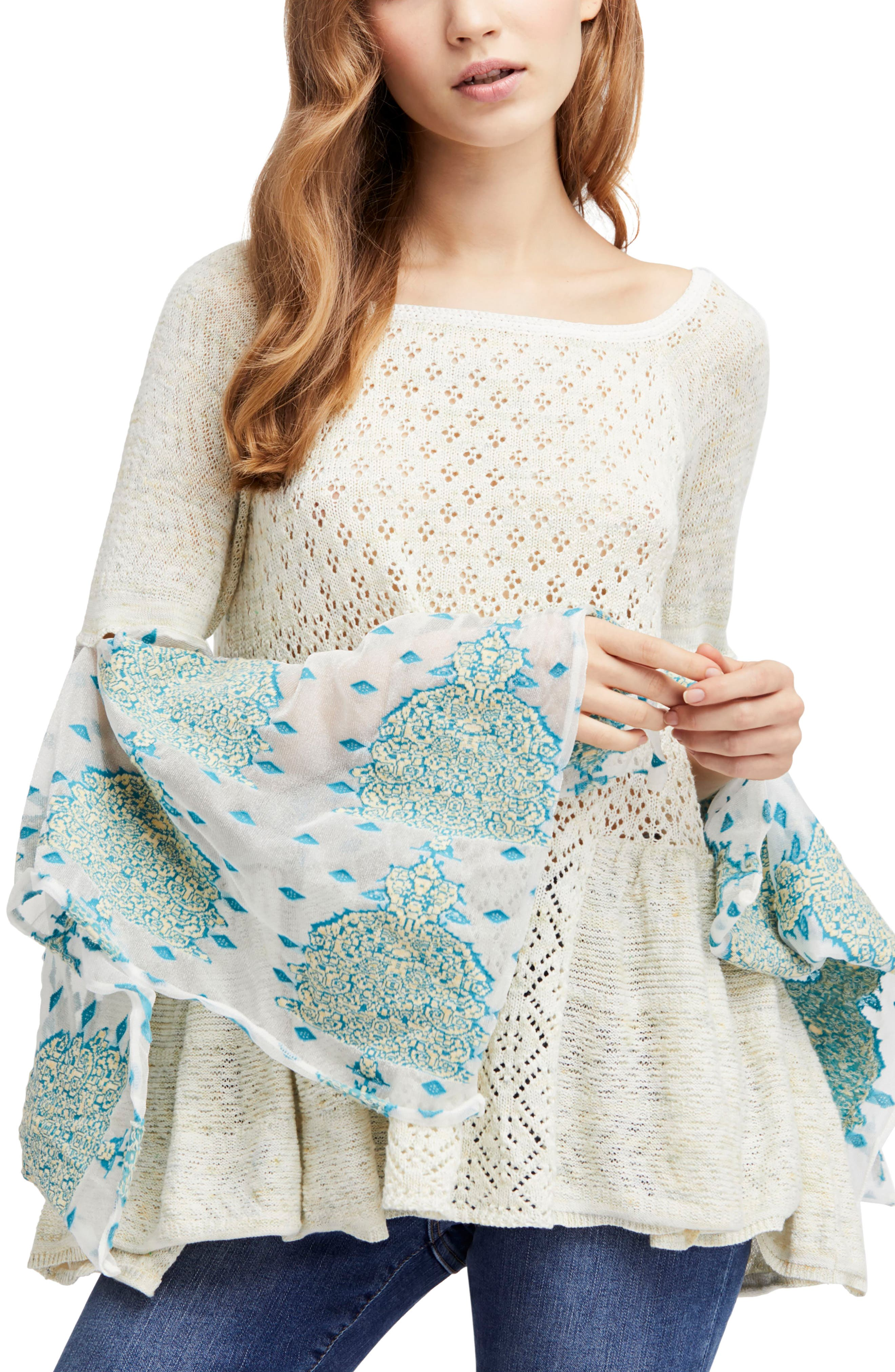 Pointelle Breeze Bell Sleeve Top,                             Main thumbnail 1, color,                             Ivory Combo
