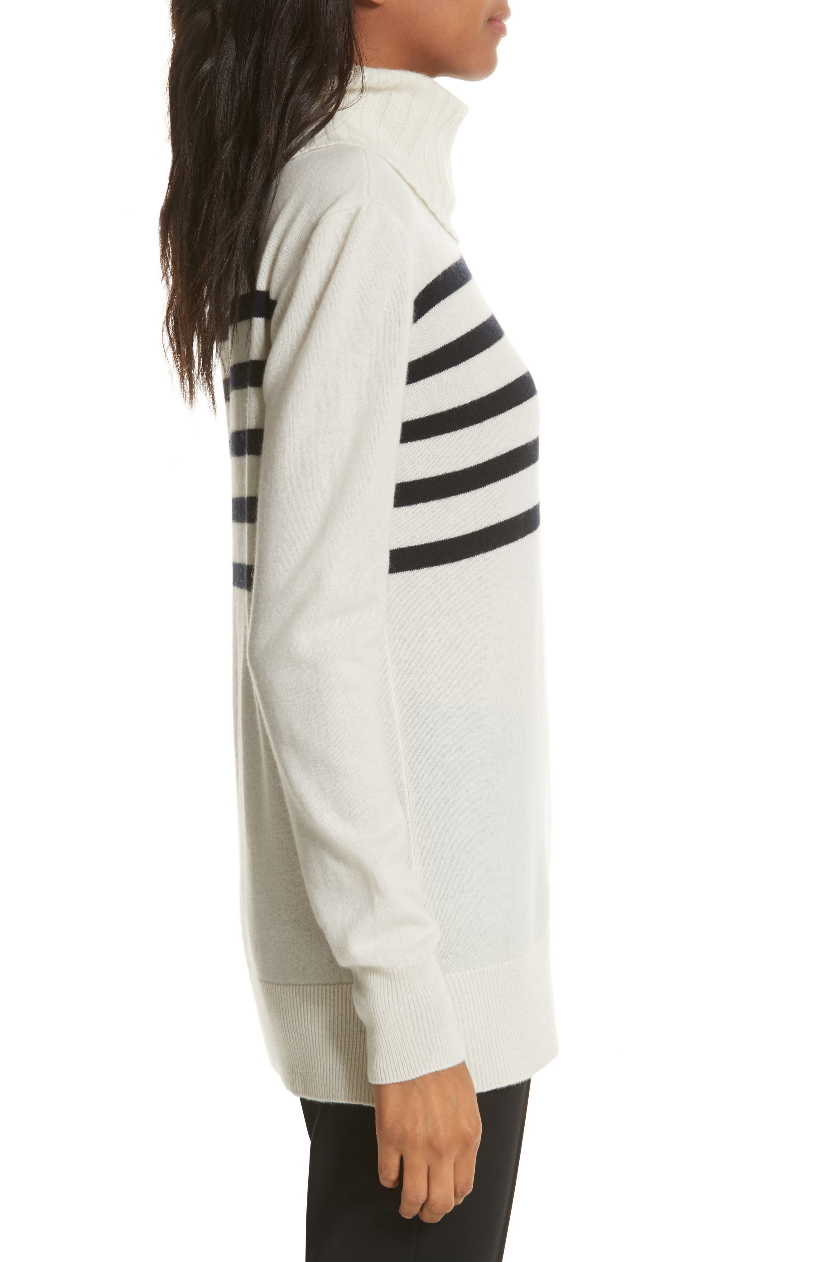 Sandra Cashmere Sweater,                             Alternate thumbnail 3, color,                             New Ivory / Tory Navy