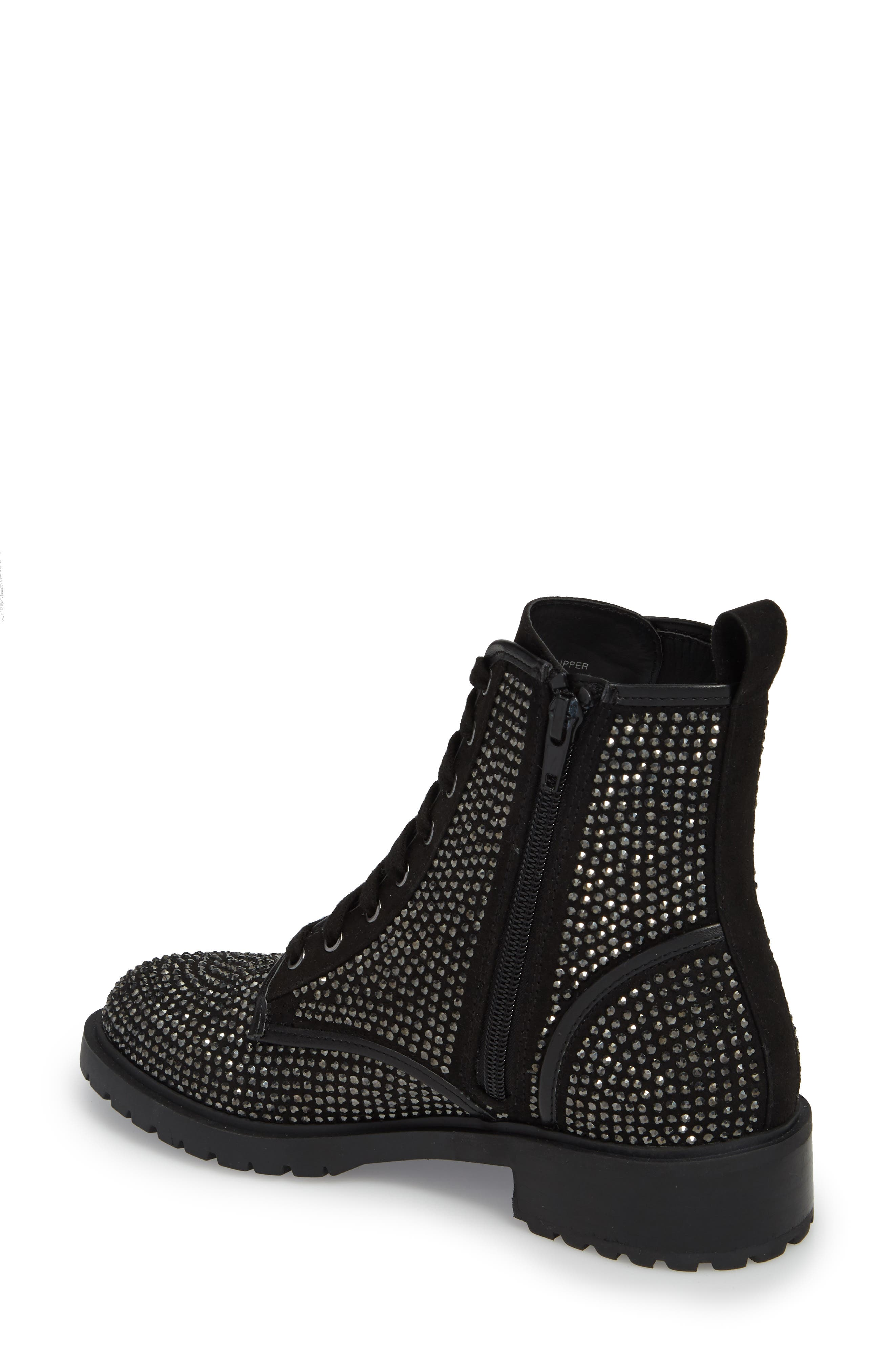 Ozzy Embellished Boot,                             Alternate thumbnail 2, color,                             Black Multi Suede