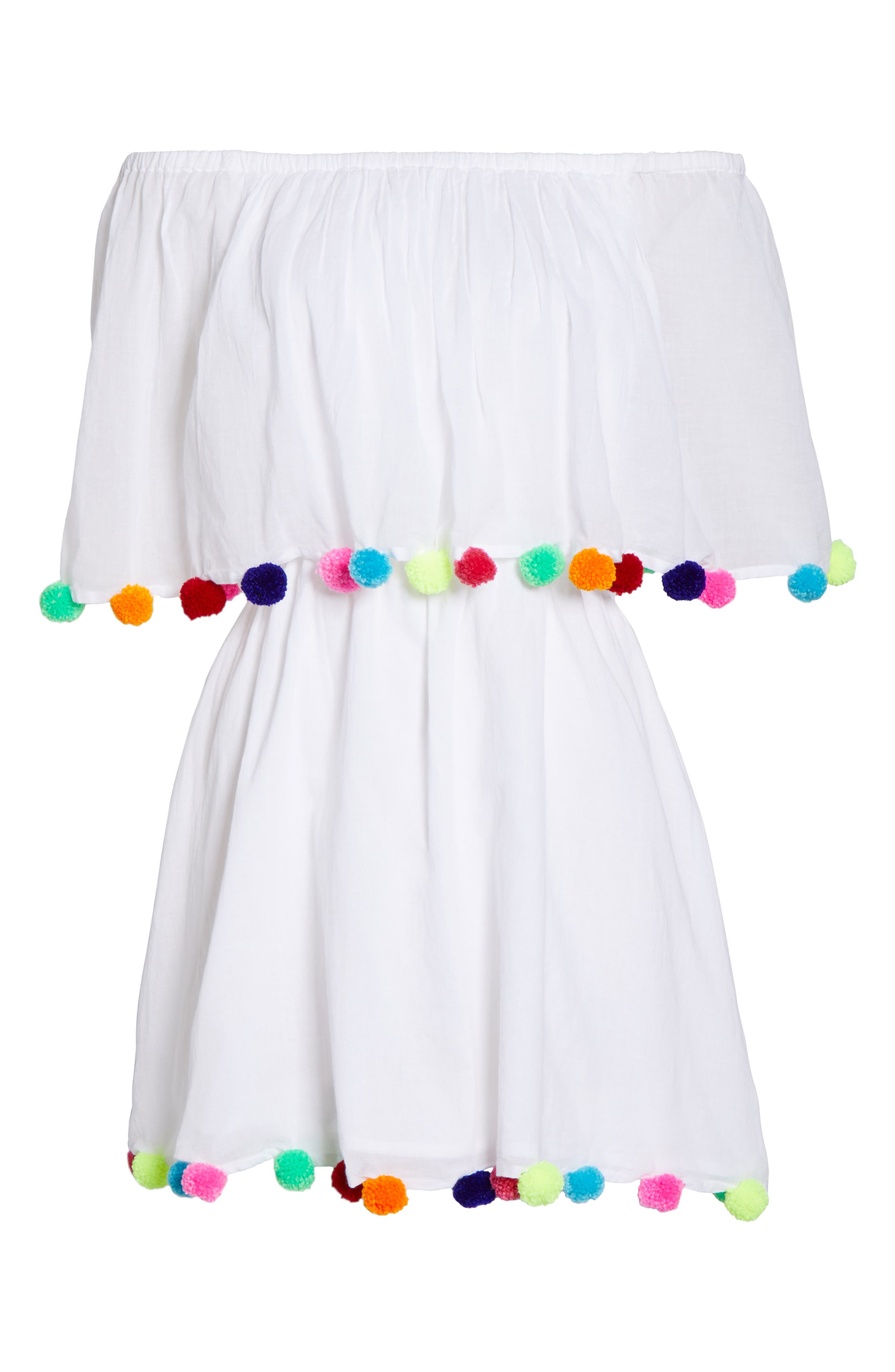 Pompom Festival Cover-Up Dress,                             Alternate thumbnail 6, color,                             White
