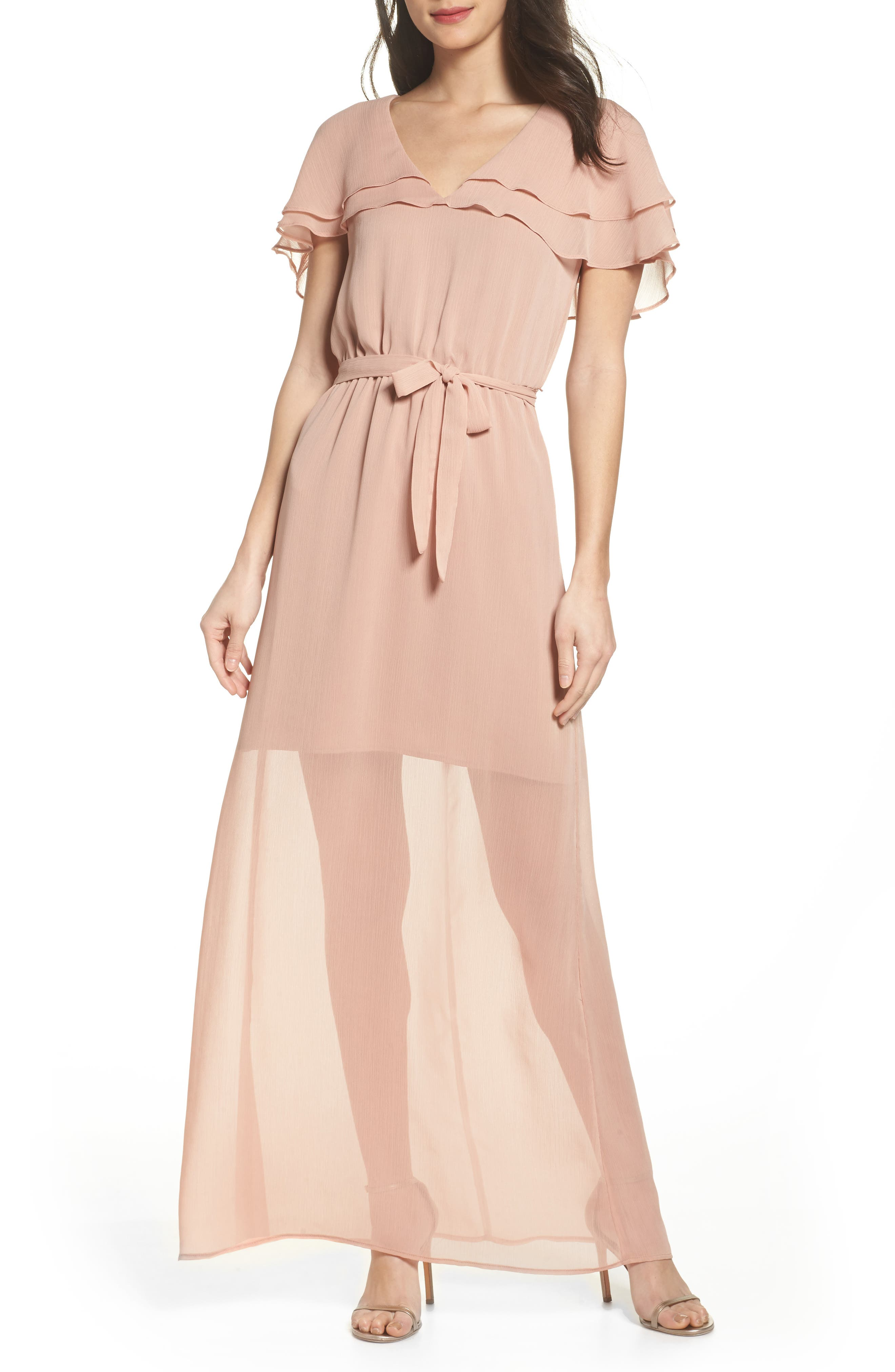 Charles Henry Split Sleeve Ruffle Maxi Dress