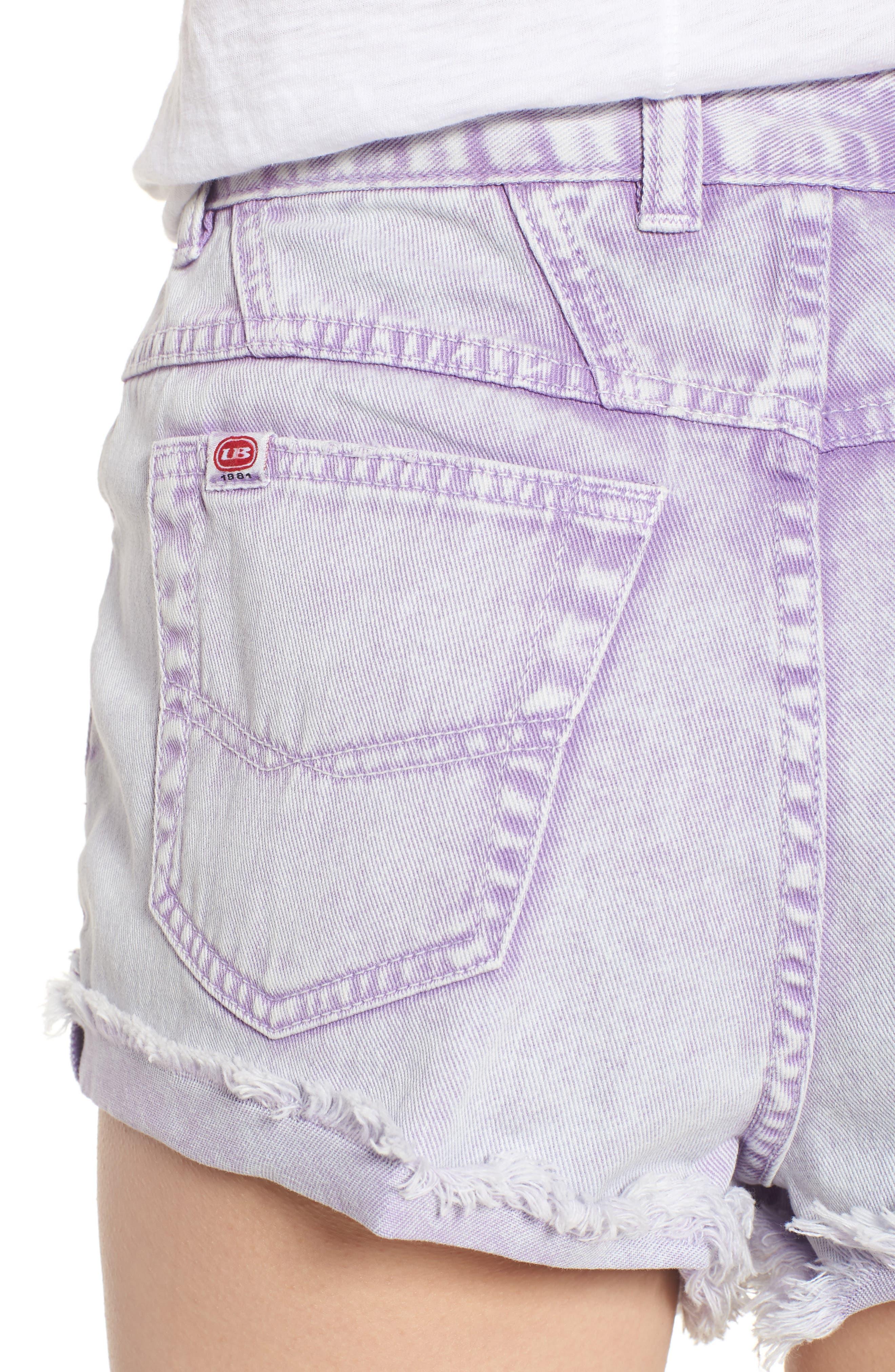 Unionbay Devo Acid Wash Denim Shorts,                             Alternate thumbnail 4, color,                             Ultra Lilac