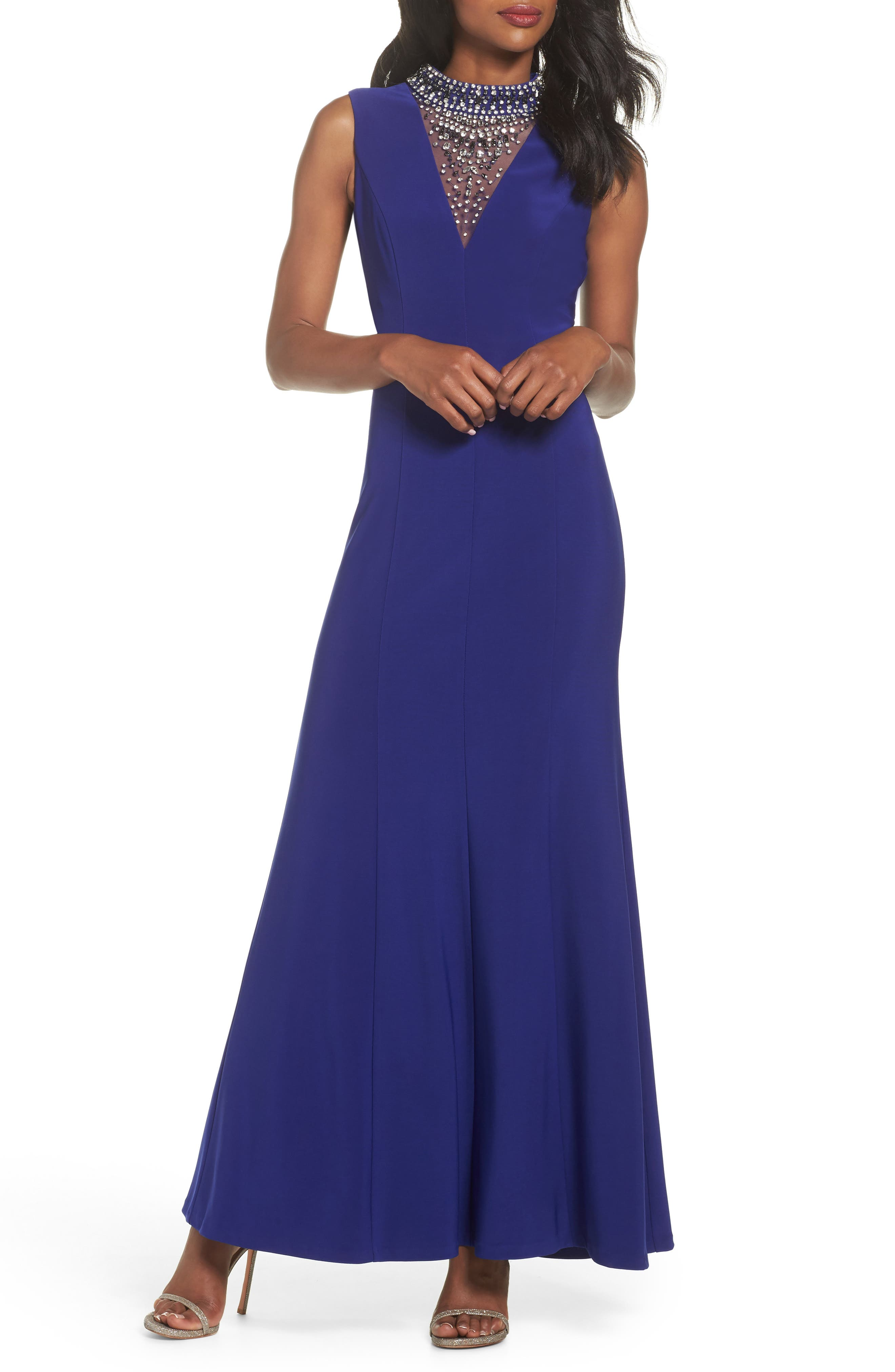 Embellished A-Line Gown,                             Main thumbnail 1, color,                             Royal