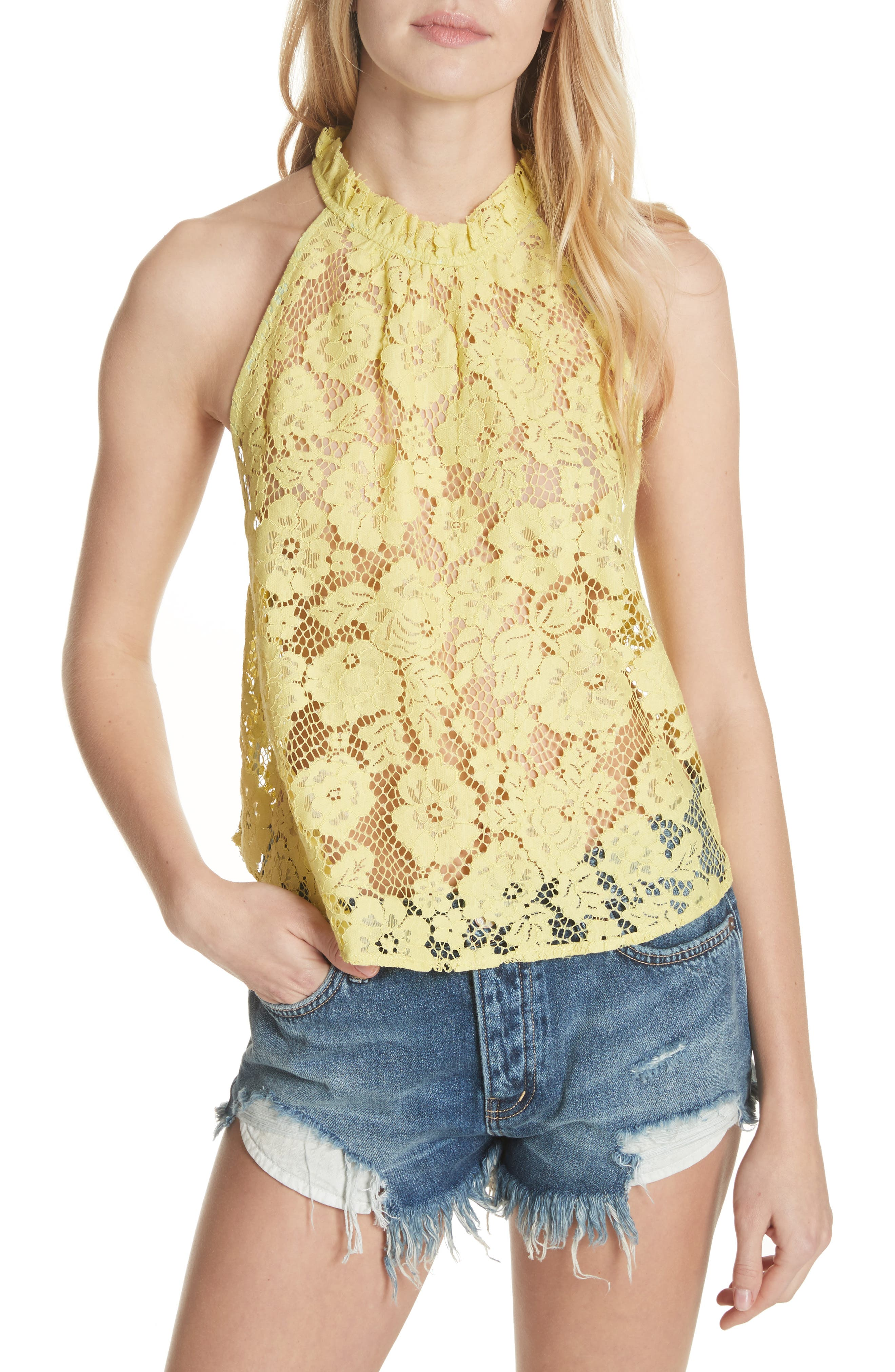 Sweet Meadow Dreams Lace Top,                         Main,                         color, Chartreuse