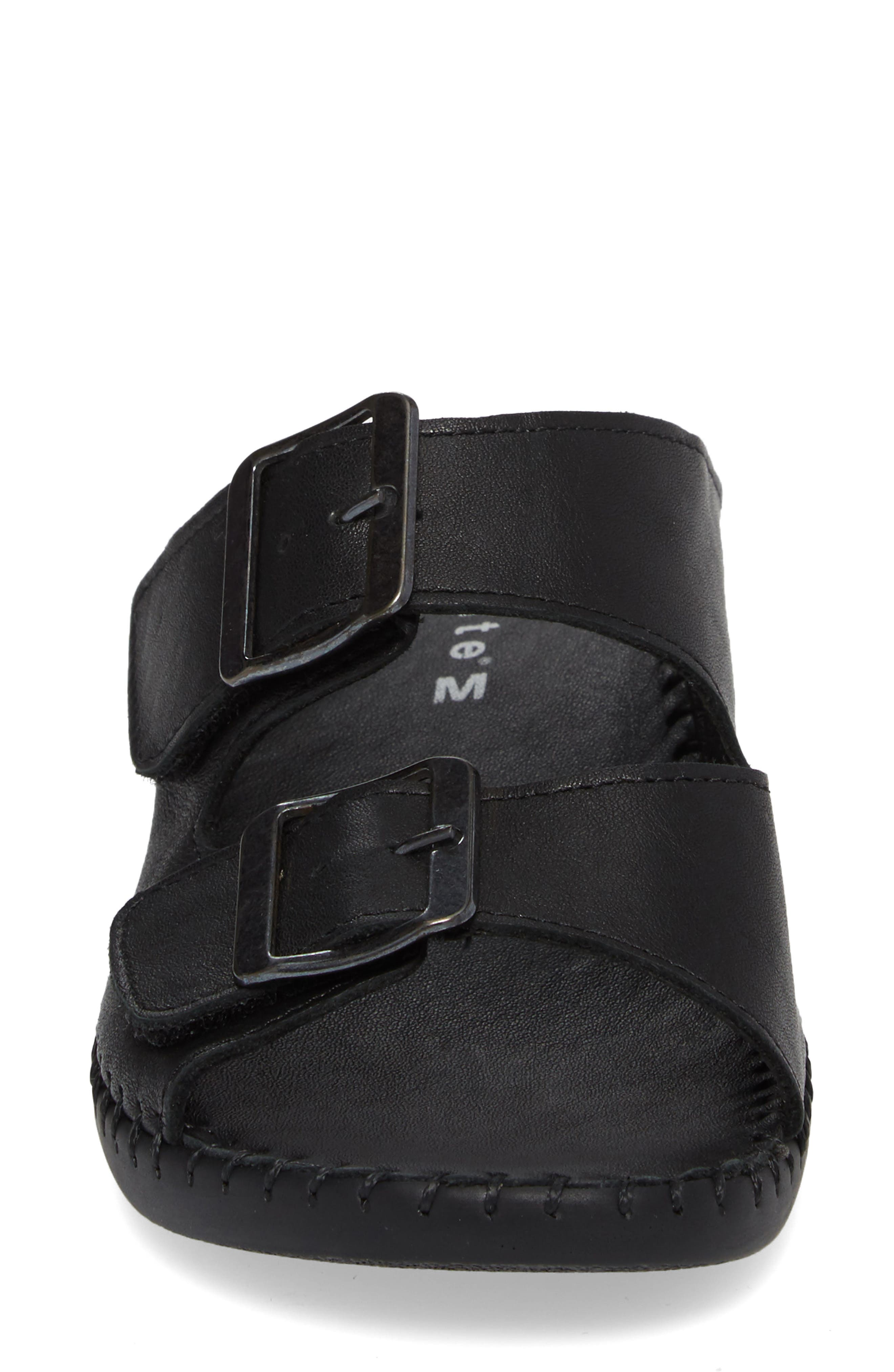 Sol Sandal,                             Alternate thumbnail 4, color,                             Black Leather