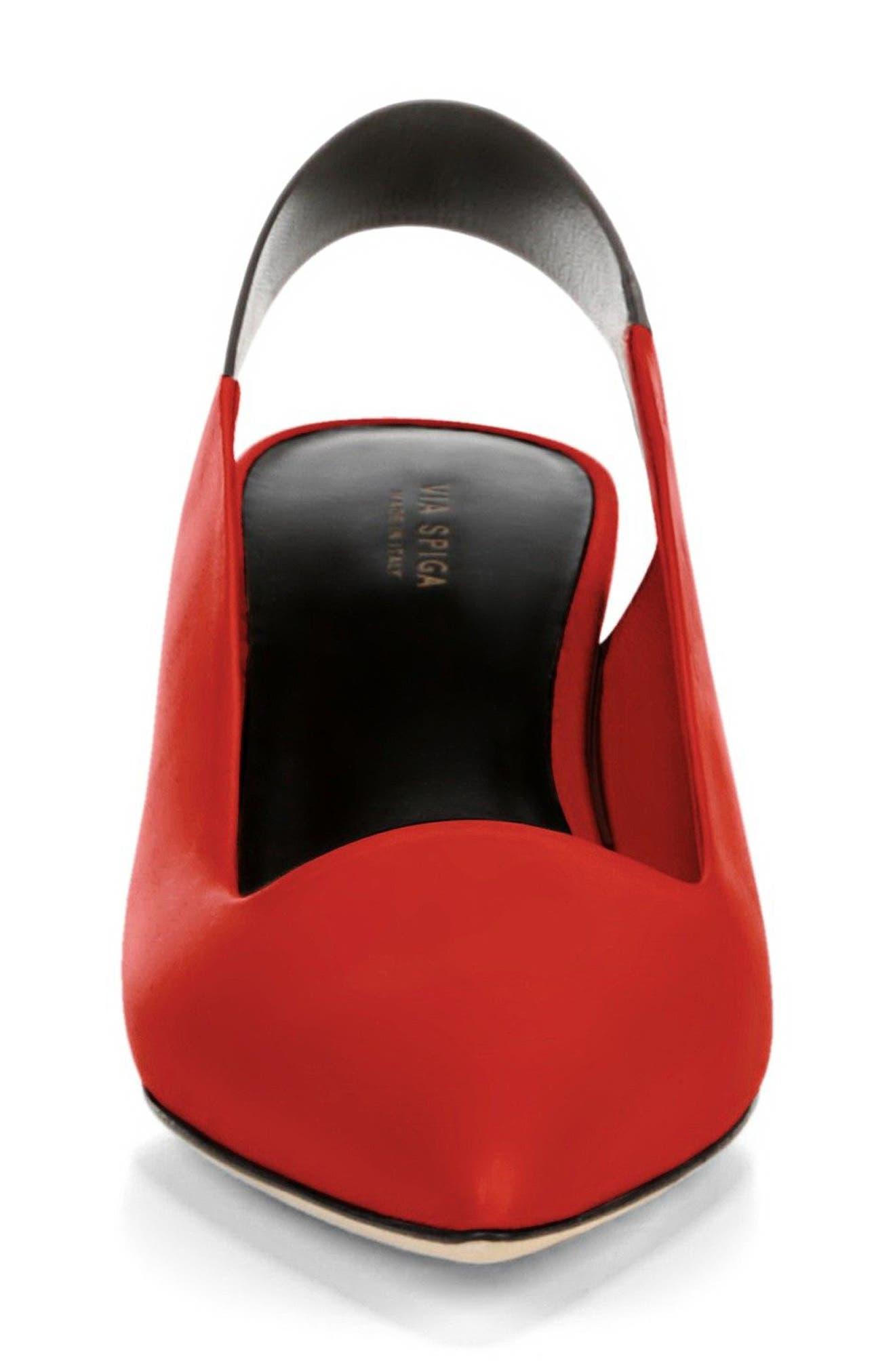 Blake Slingback Pump,                             Alternate thumbnail 3, color,                             Poppy Red/ Black Leather
