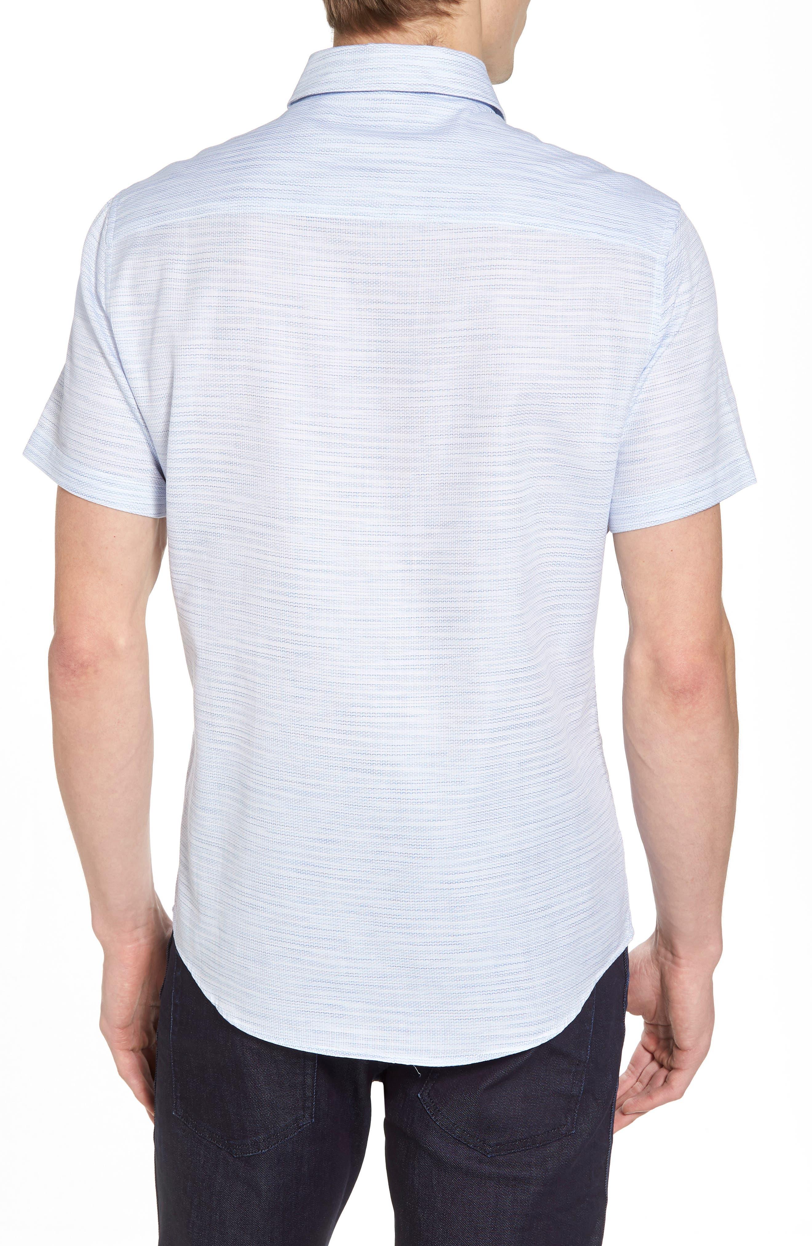Slim Fit Stripe Short Sleeve Sport Shirt,                             Alternate thumbnail 2, color,                             Light/ Pastel Blue Dobby