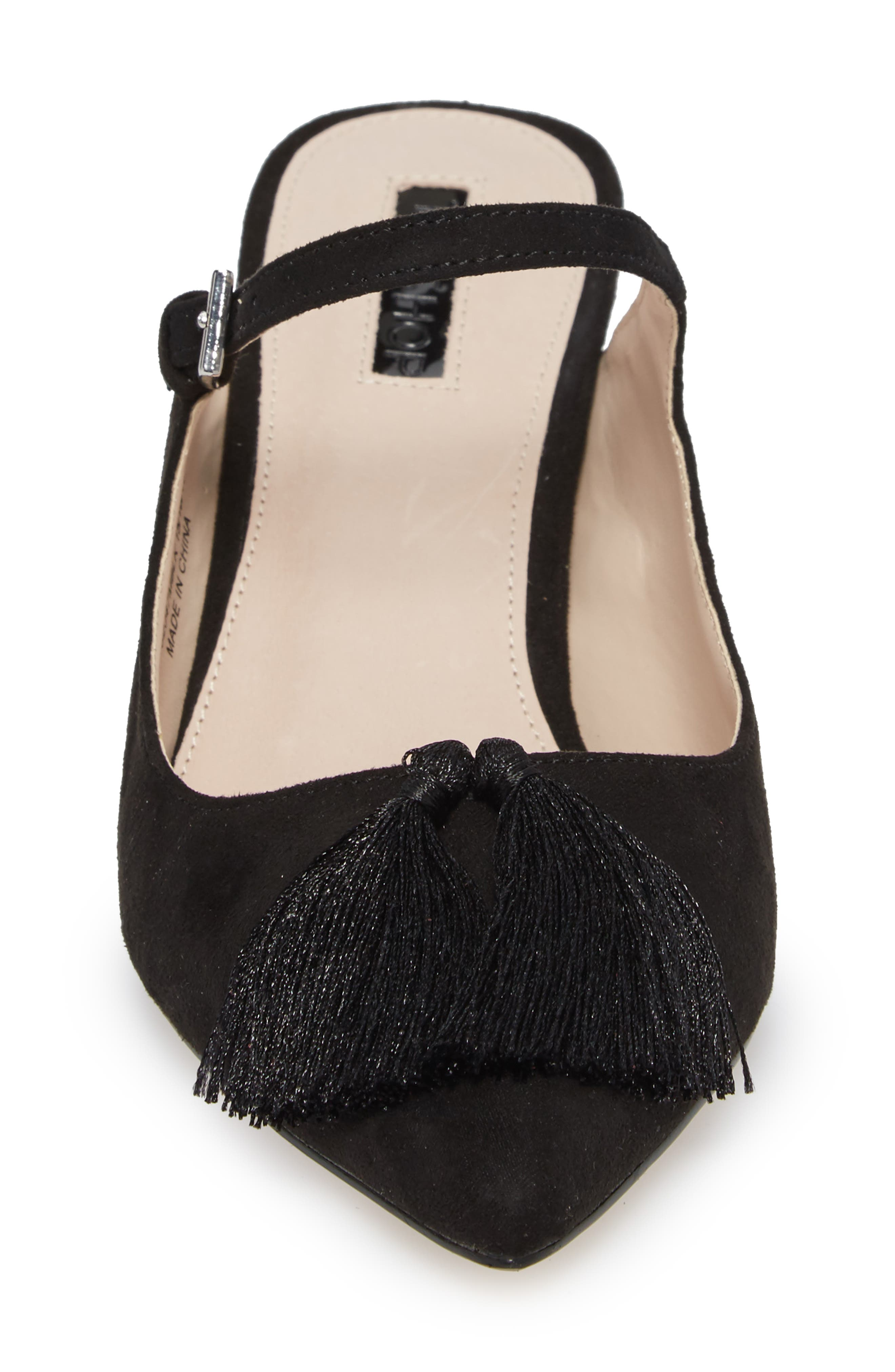 Jumbo Tassel Mule,                             Alternate thumbnail 4, color,                             Black