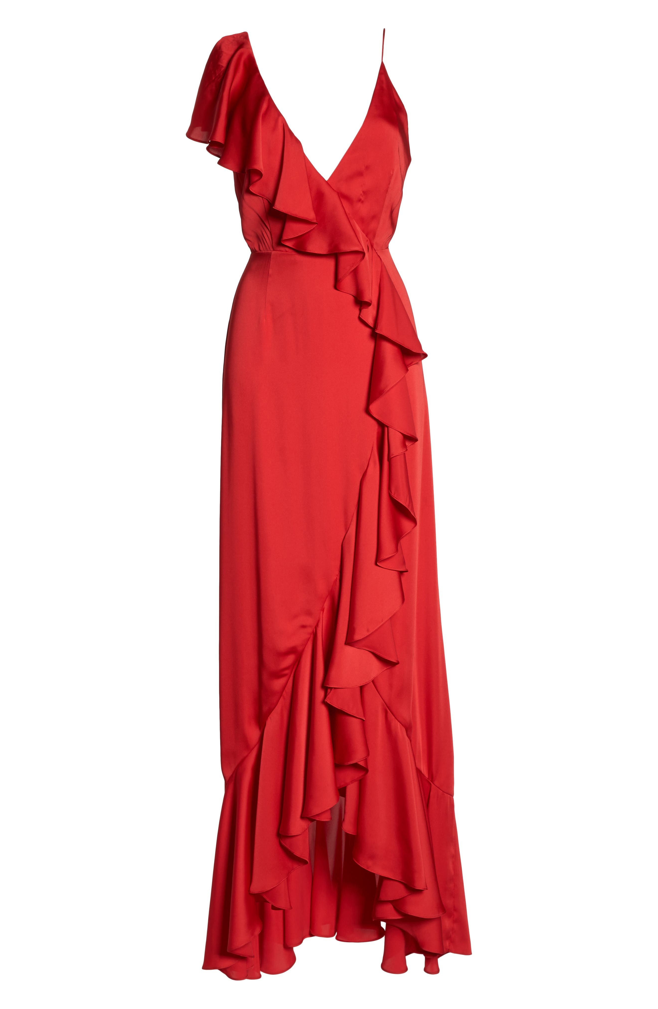 Ruffle Detail Gown,                             Alternate thumbnail 6, color,                             Poppy Red