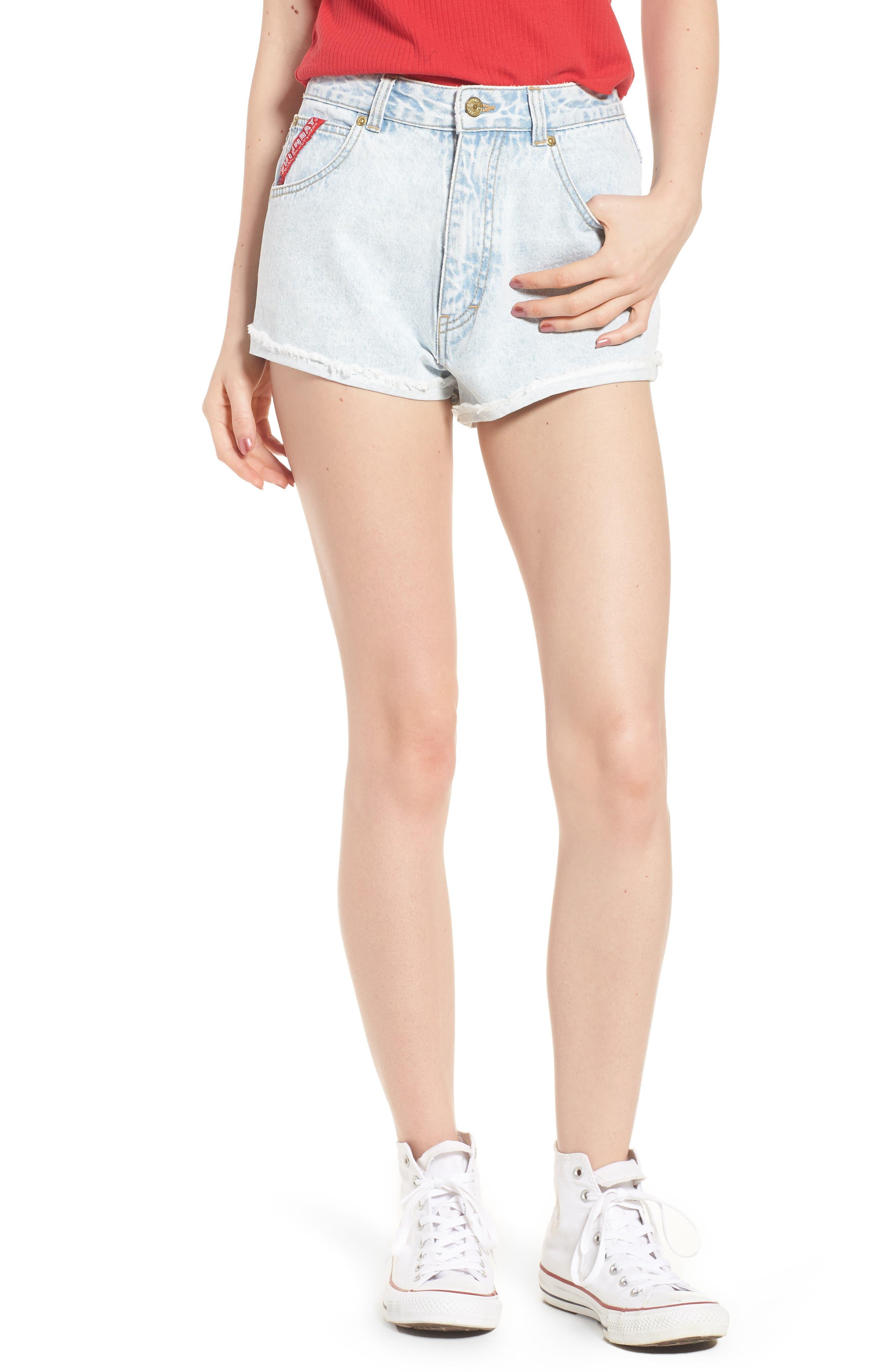 Unionbay Devo Acid Wash Denim Shorts,                         Main,                         color, Icy Wash