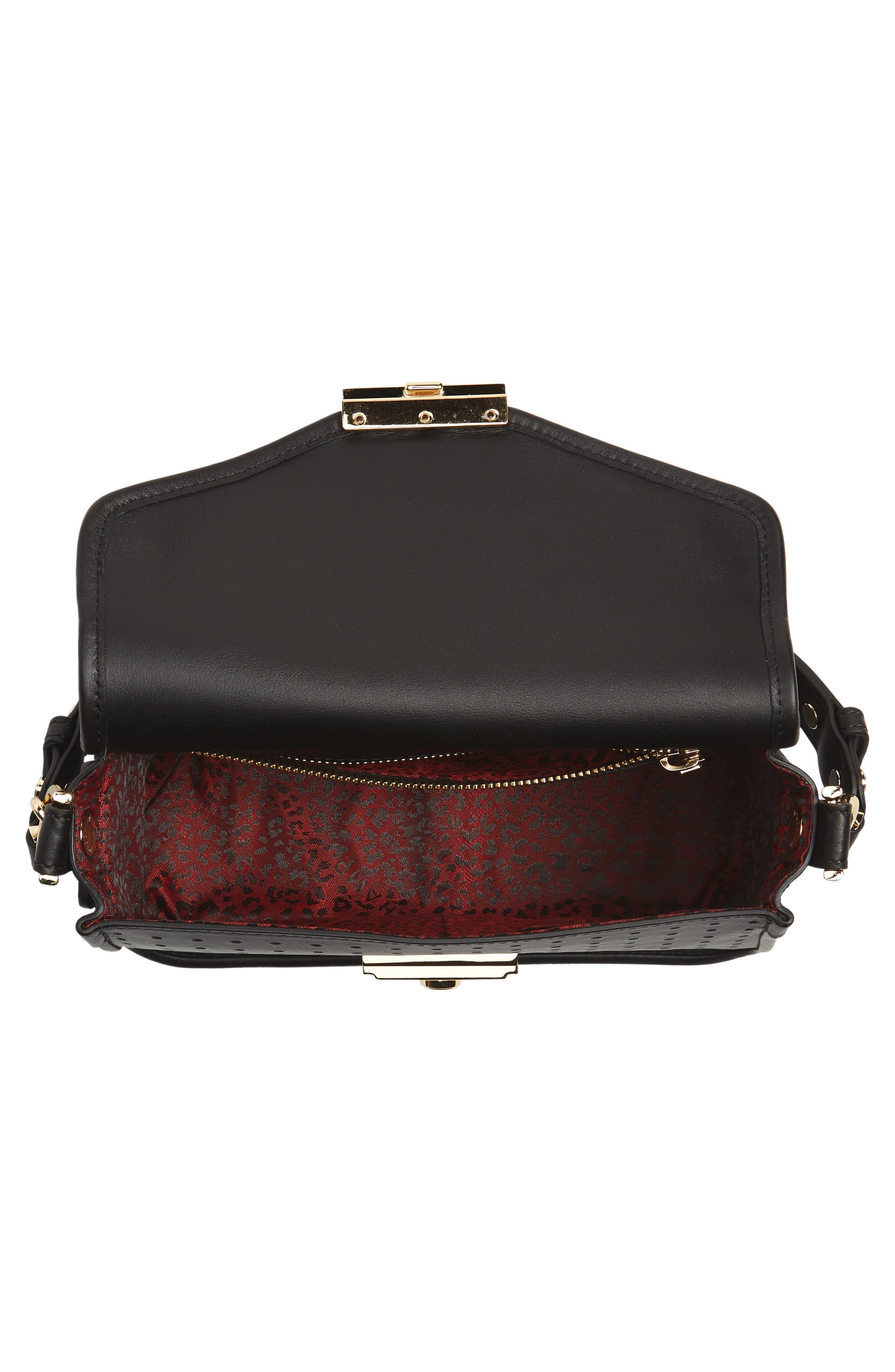 Small Mademoiselle Calfskin Leather Crossbody Bag,                             Alternate thumbnail 4, color,                             Black