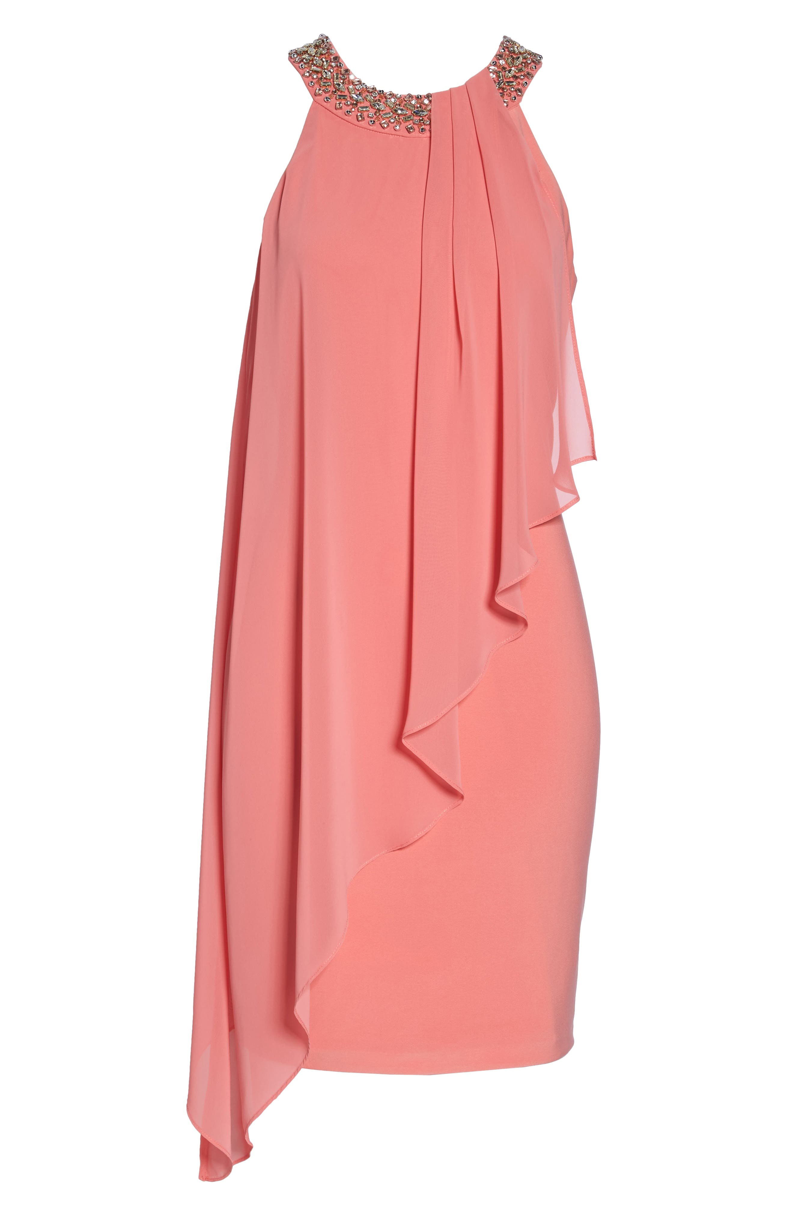 Embellished Chiffon Overlay A-Line Dress,                             Alternate thumbnail 6, color,                             Guava