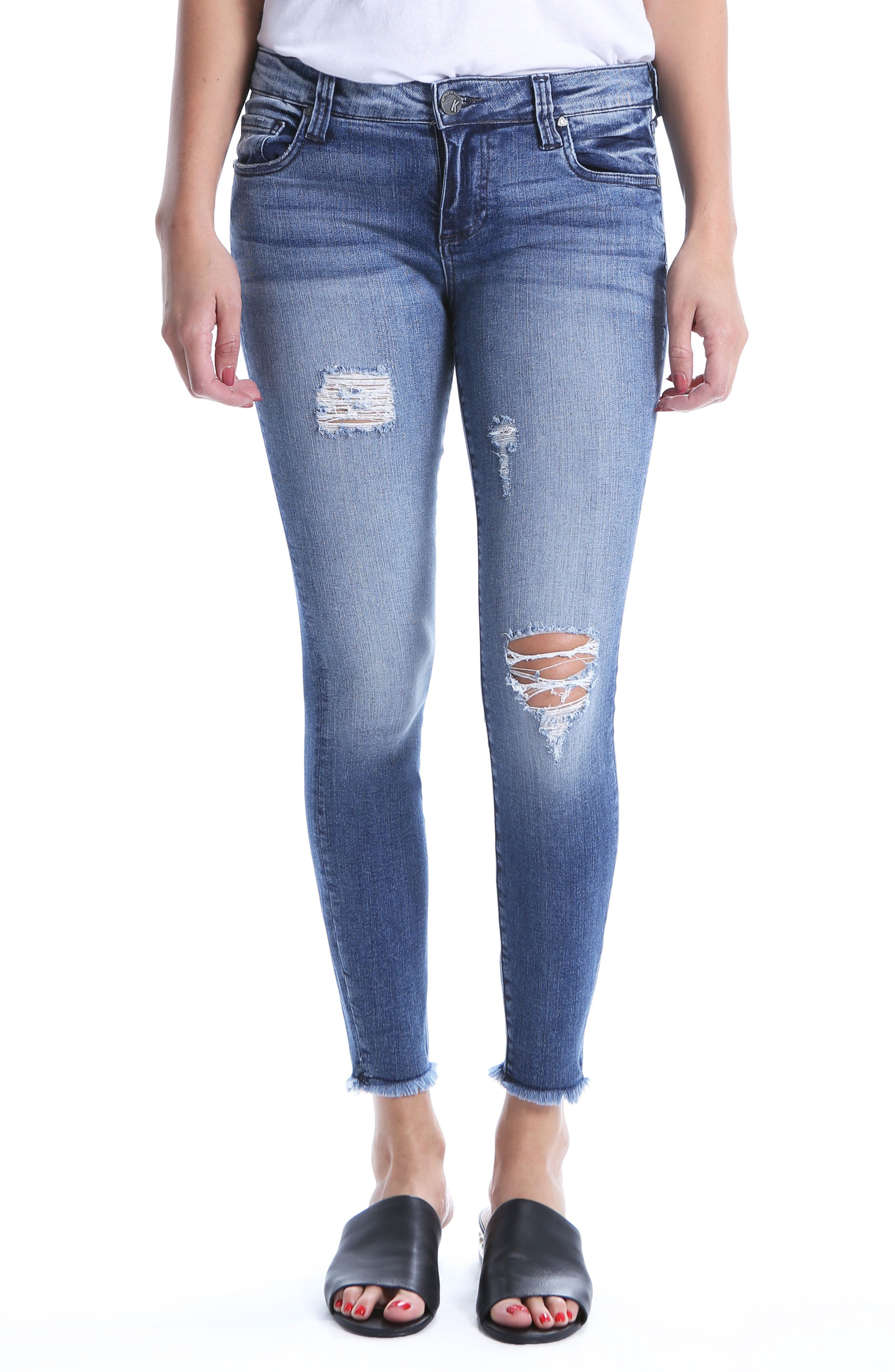 Connie Ripped Distressed Frayed Hem Jeans,                             Main thumbnail 1, color,                             Galvanized