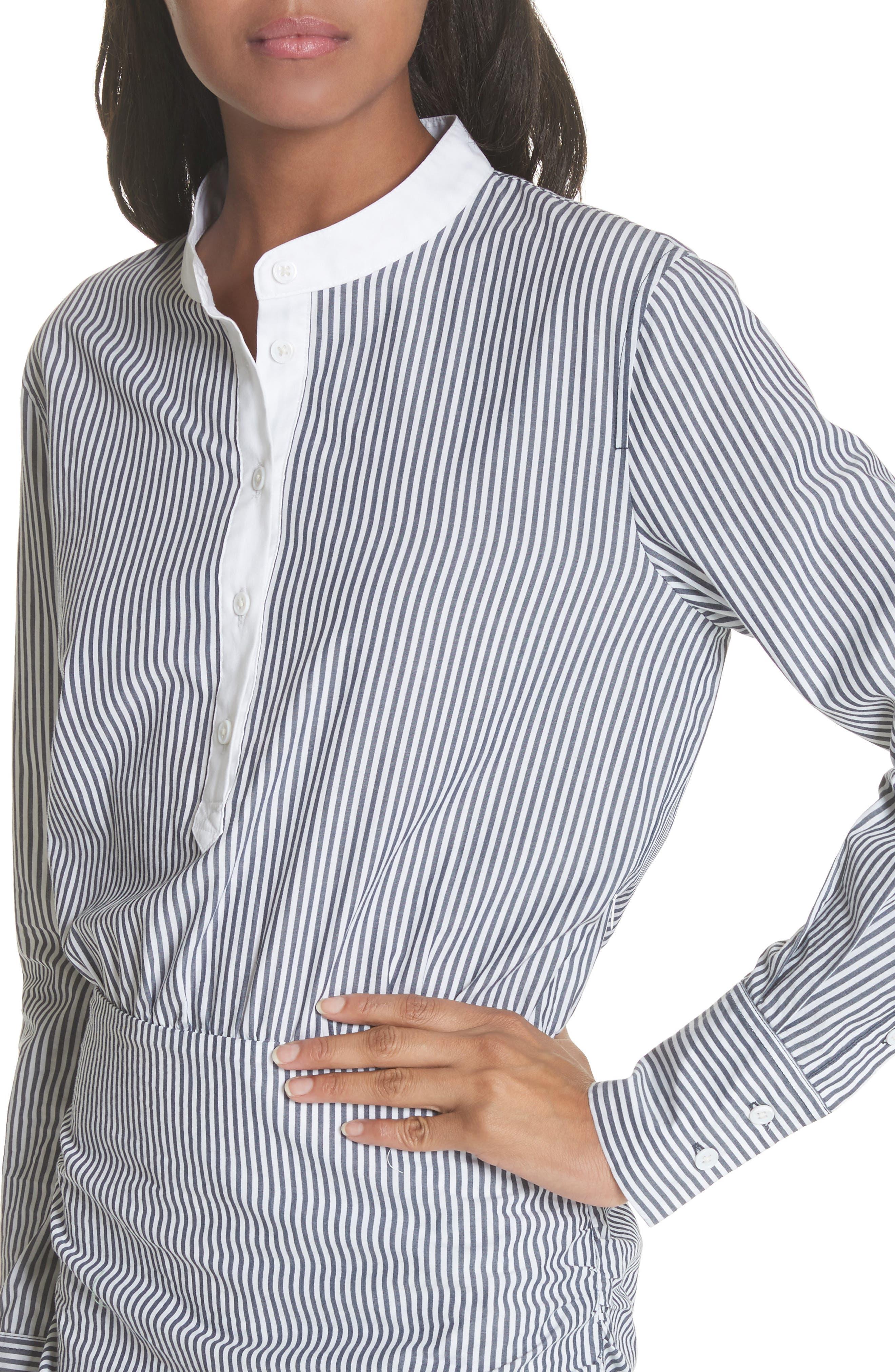 Everett Stripe Shirtdress,                             Alternate thumbnail 4, color,                             Black/ White Stripe