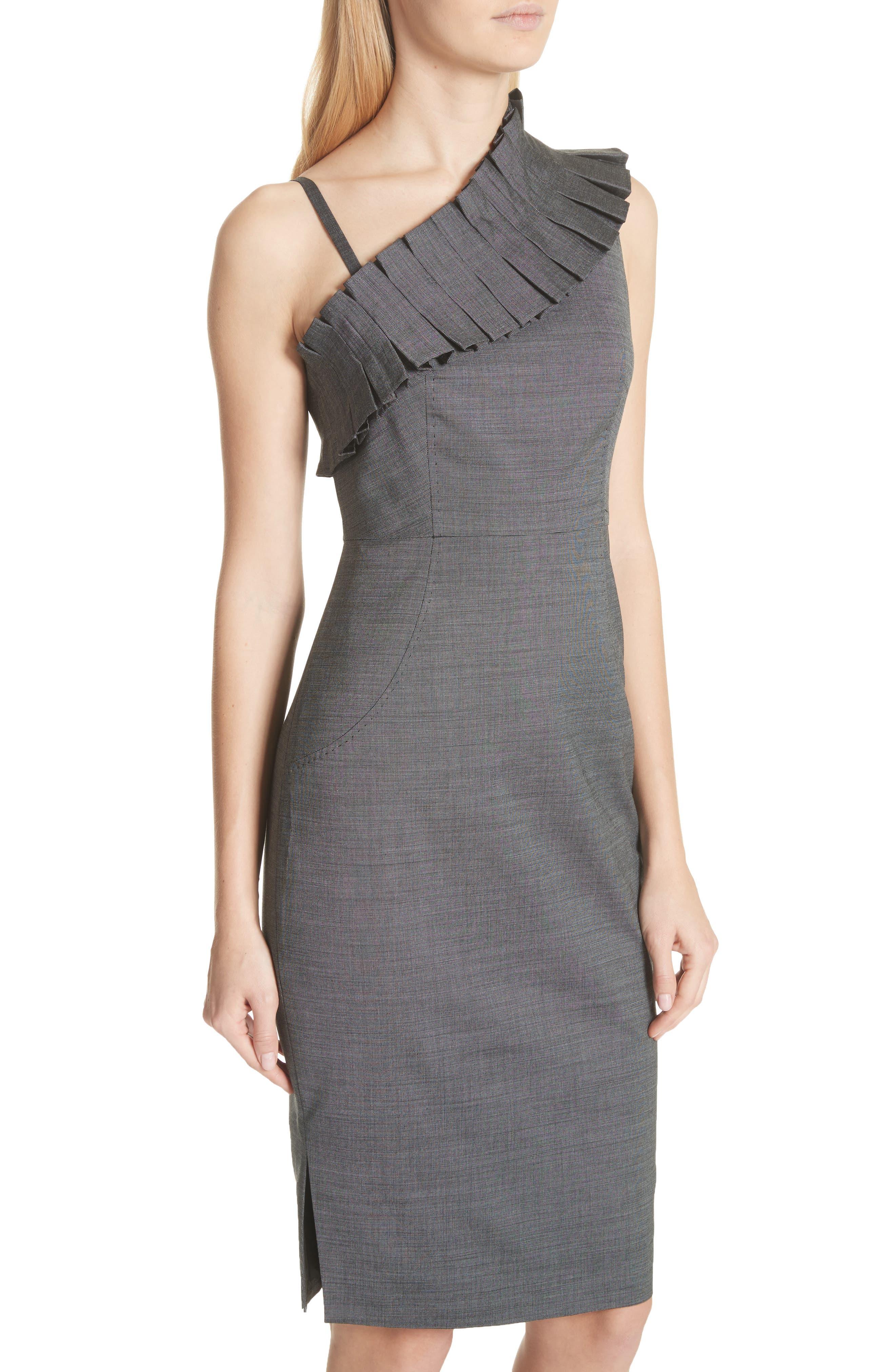 One-Shoulder Sheath Dress,                             Alternate thumbnail 4, color,                             Grey
