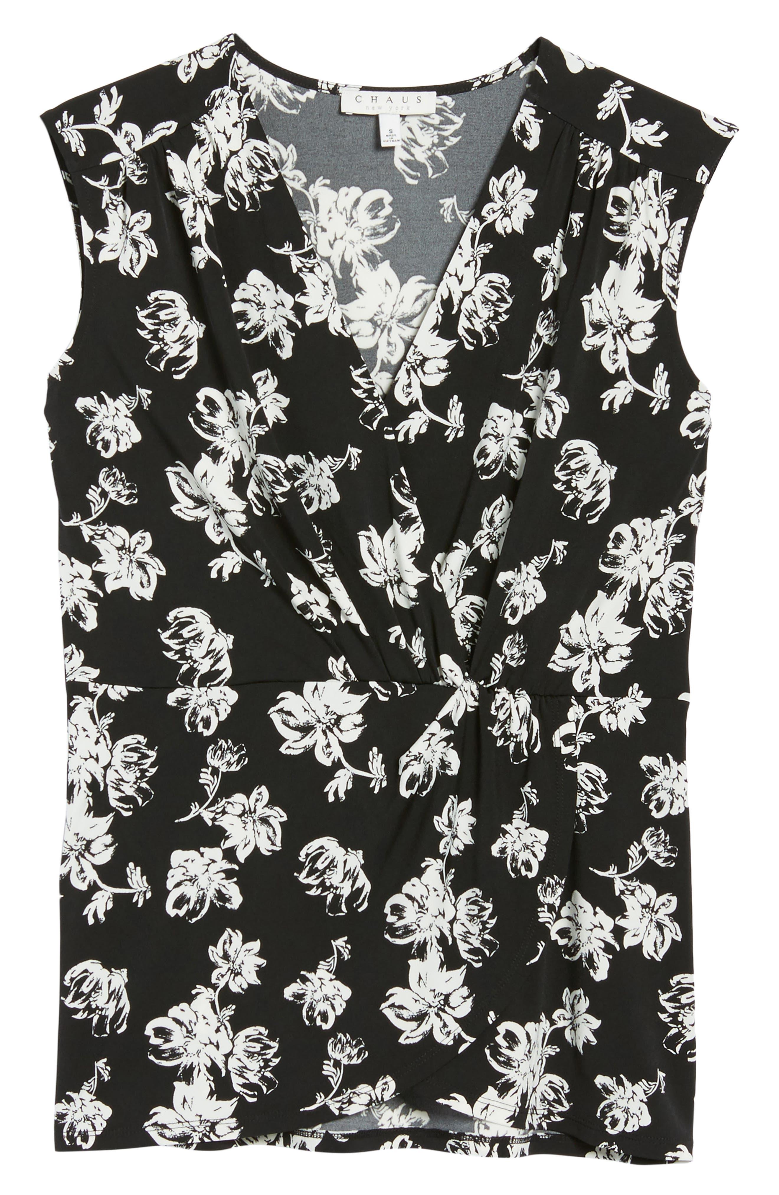 Floral Breeze Knot Front Top,                             Alternate thumbnail 6, color,                             060-Rich Black