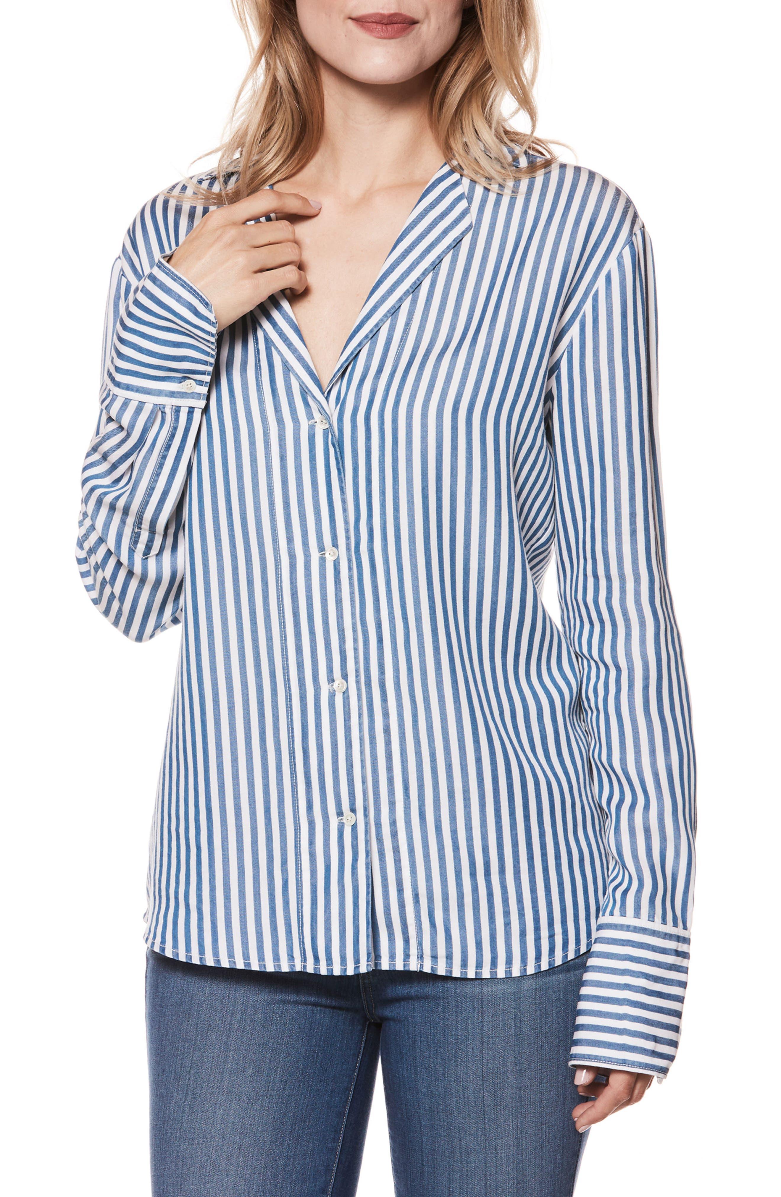 Elora Stripe Shirt,                             Main thumbnail 1, color,                             White/ Blue Bell Stripe