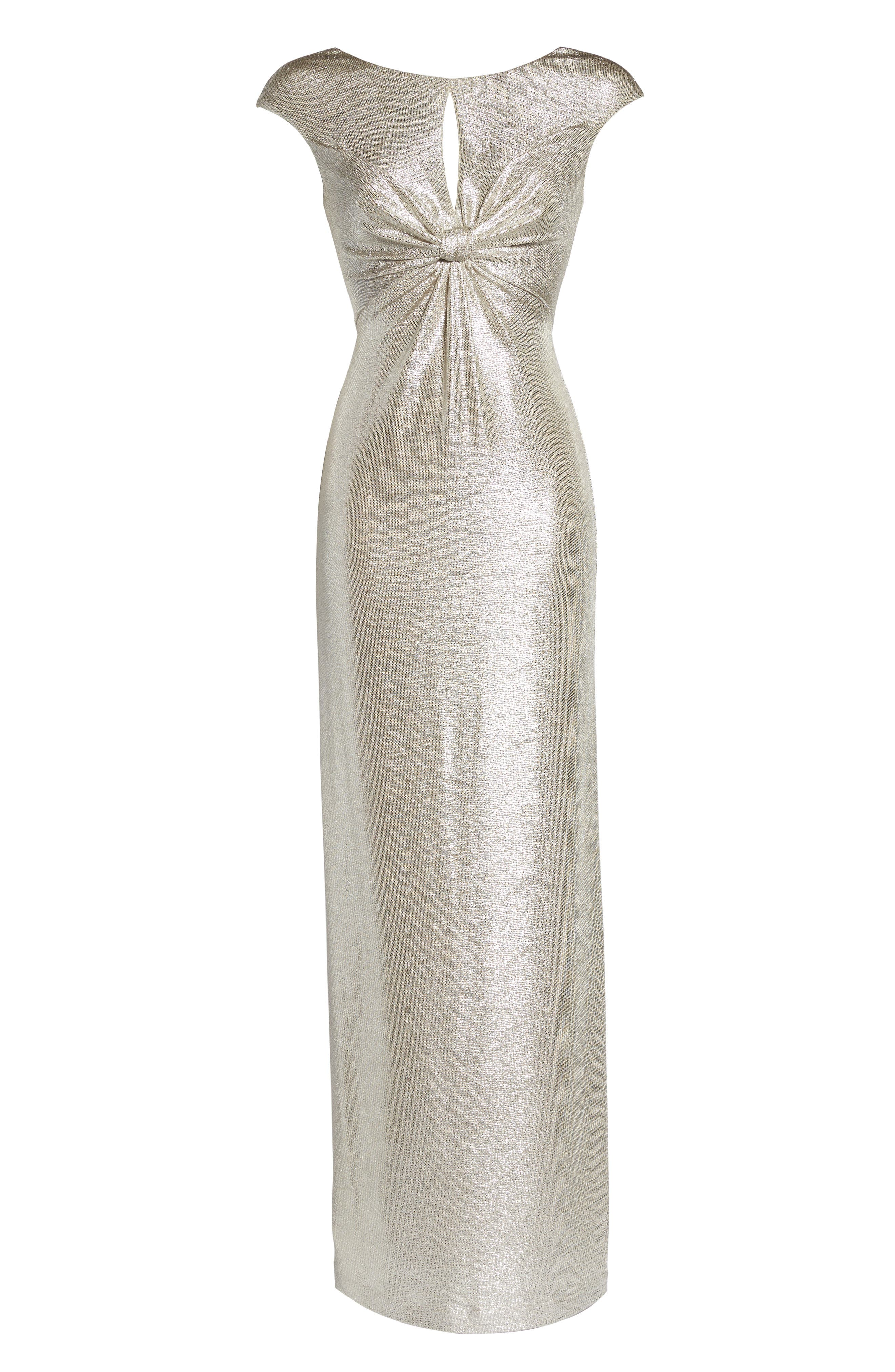 Twist Front Gown,                             Alternate thumbnail 6, color,                             Silver
