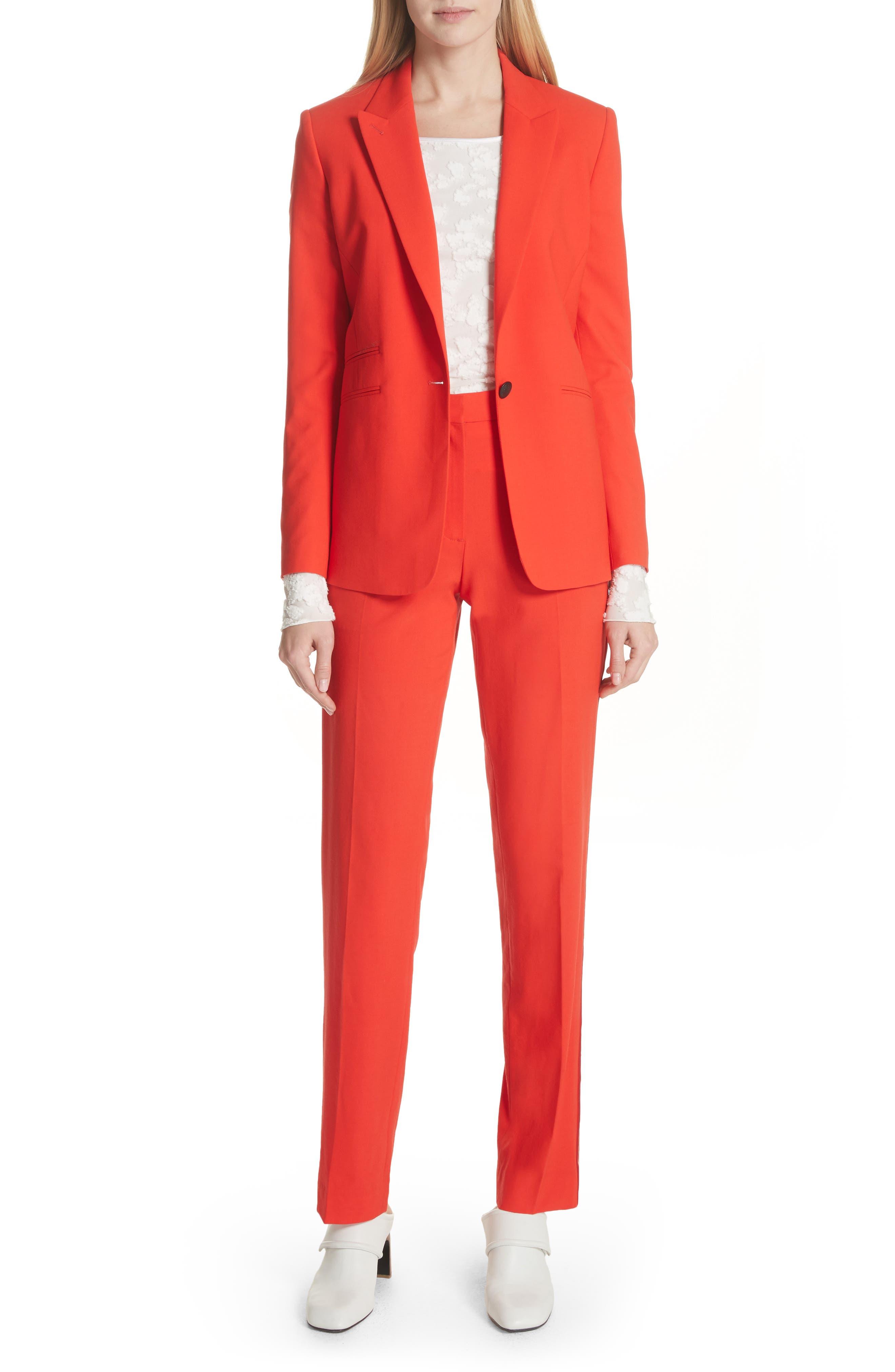 Oman Side Stripe Wool Blend Pants,                             Alternate thumbnail 2, color,                             Red