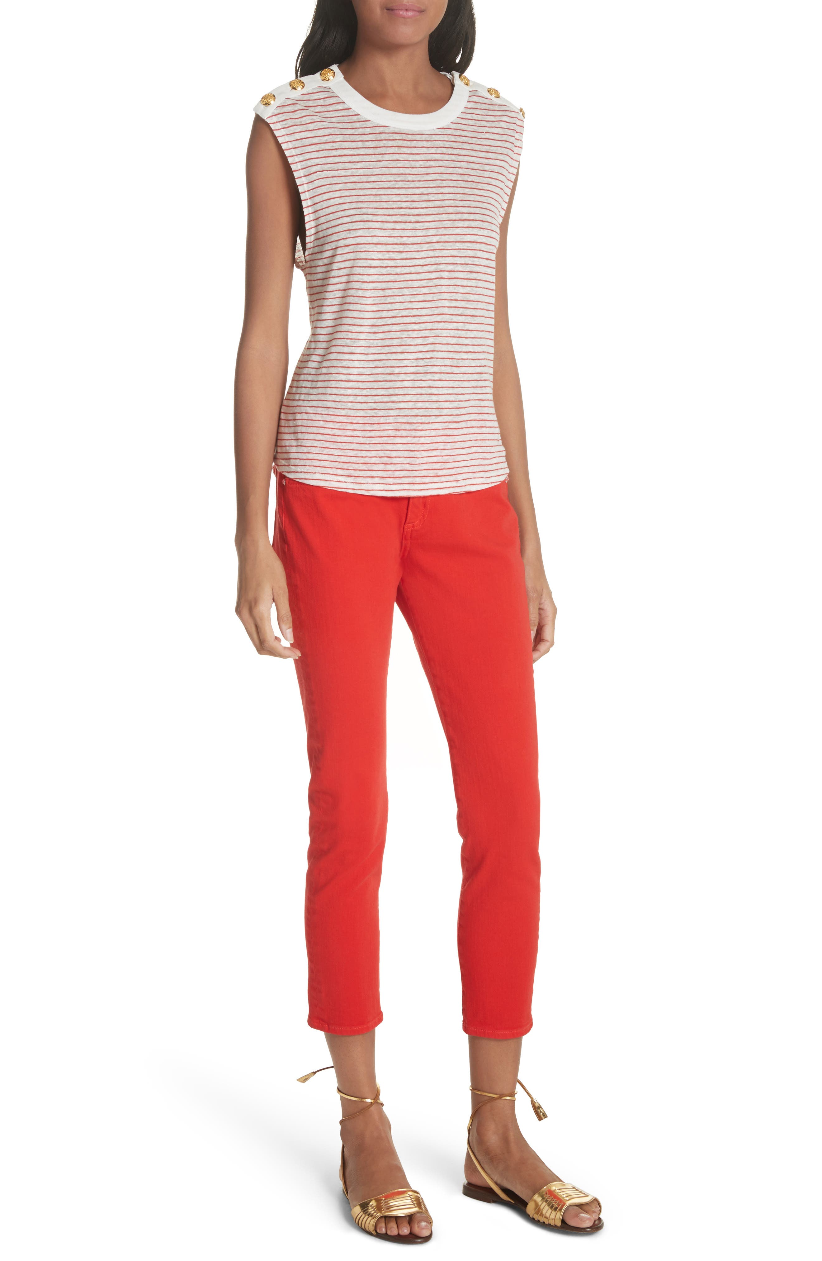 Brook Crop Skinny Jeans,                             Alternate thumbnail 7, color,                             Neon Red