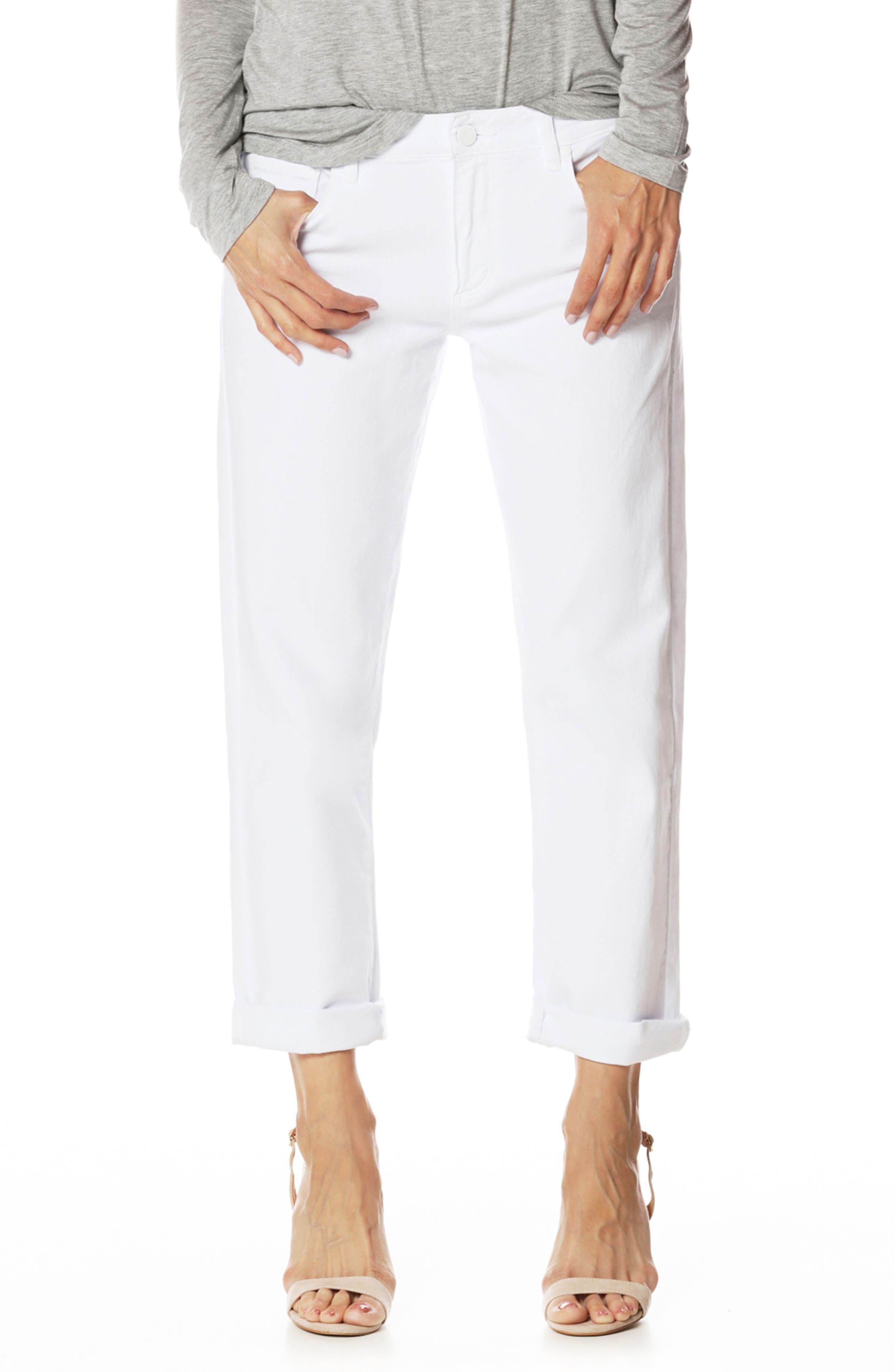 Brigitte Crop Boyfriend Jeans,                             Main thumbnail 1, color,                             Crisp White