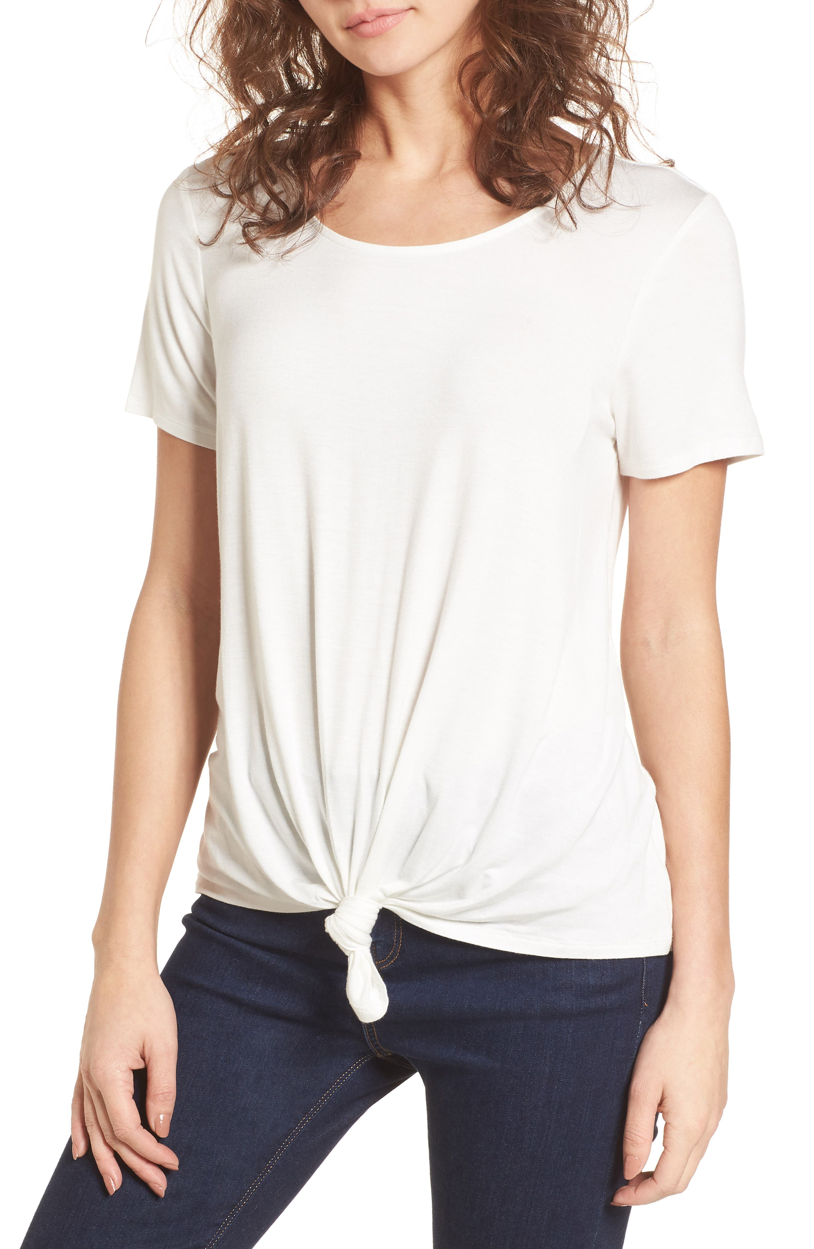 Tie Front Tee,                         Main,                         color, White