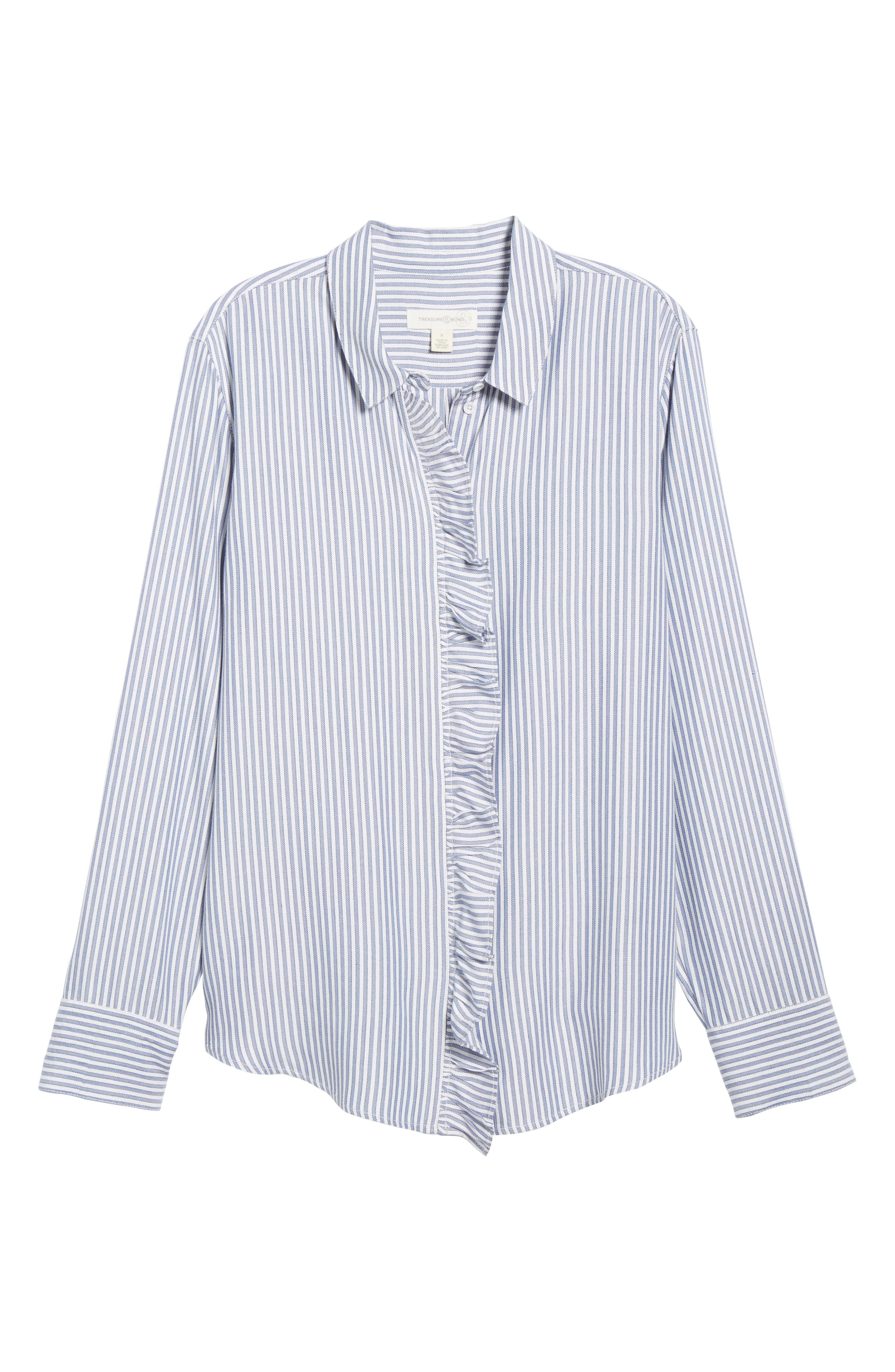 Stripe Ruffle Shirt,                             Alternate thumbnail 6, color,                             White Double Oxford Stripe